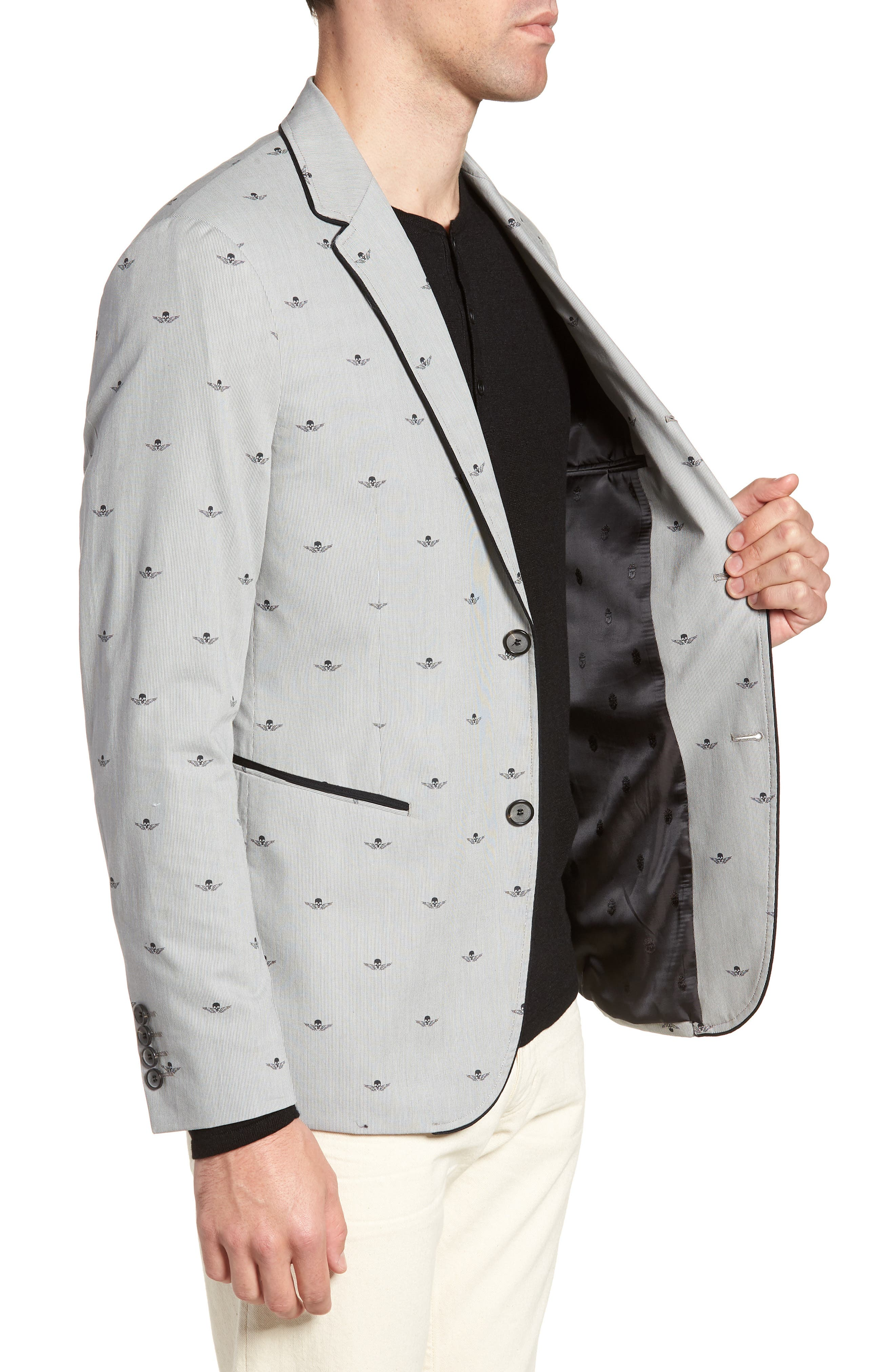 JOHN VARVATOS STAR USA,                             Slim Fit Print Cotton Blazer,                             Alternate thumbnail 3, color,                             038