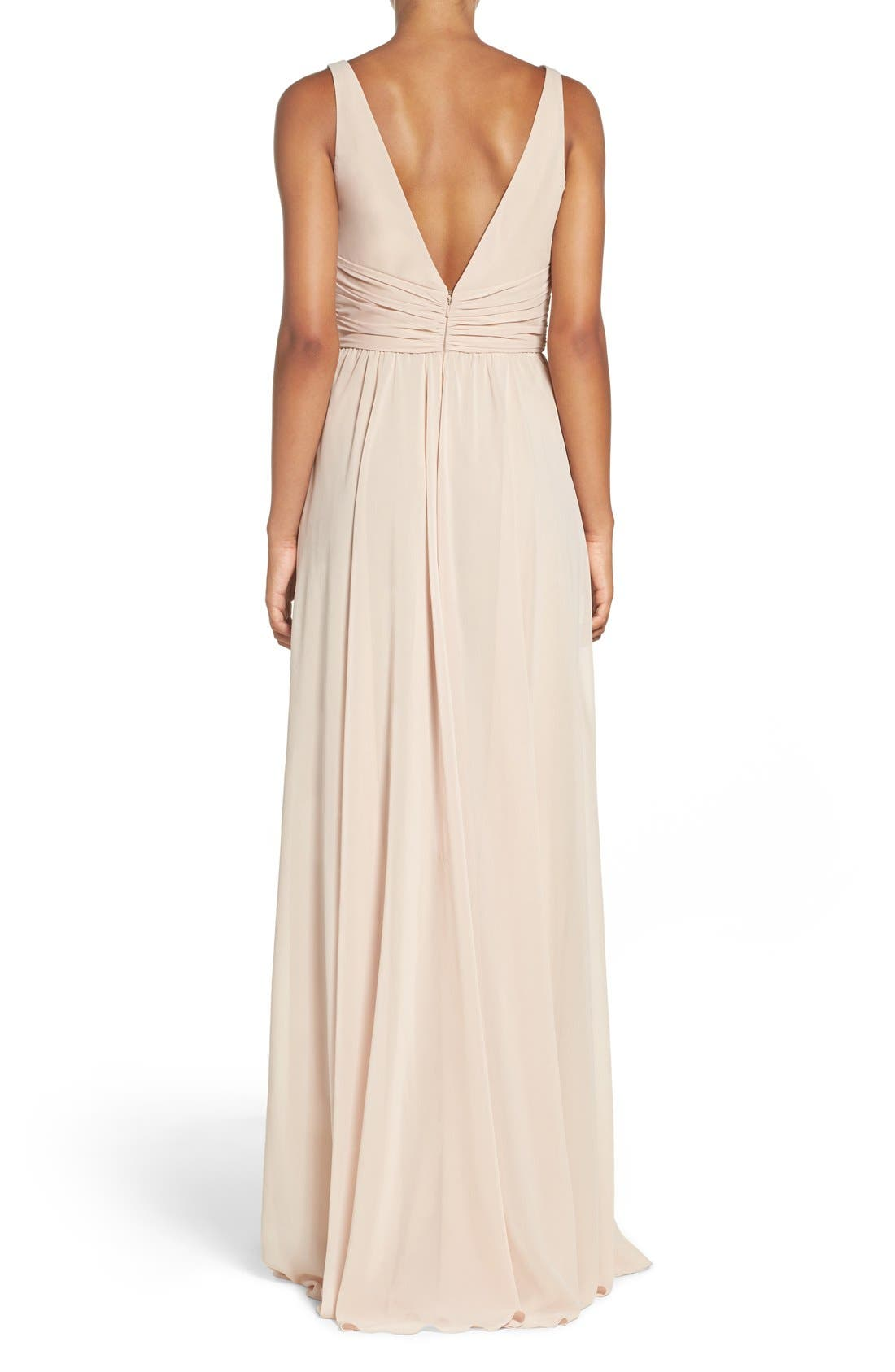 'Justine' Double V-Neck Chiffon Gown,                             Alternate thumbnail 4, color,                             220