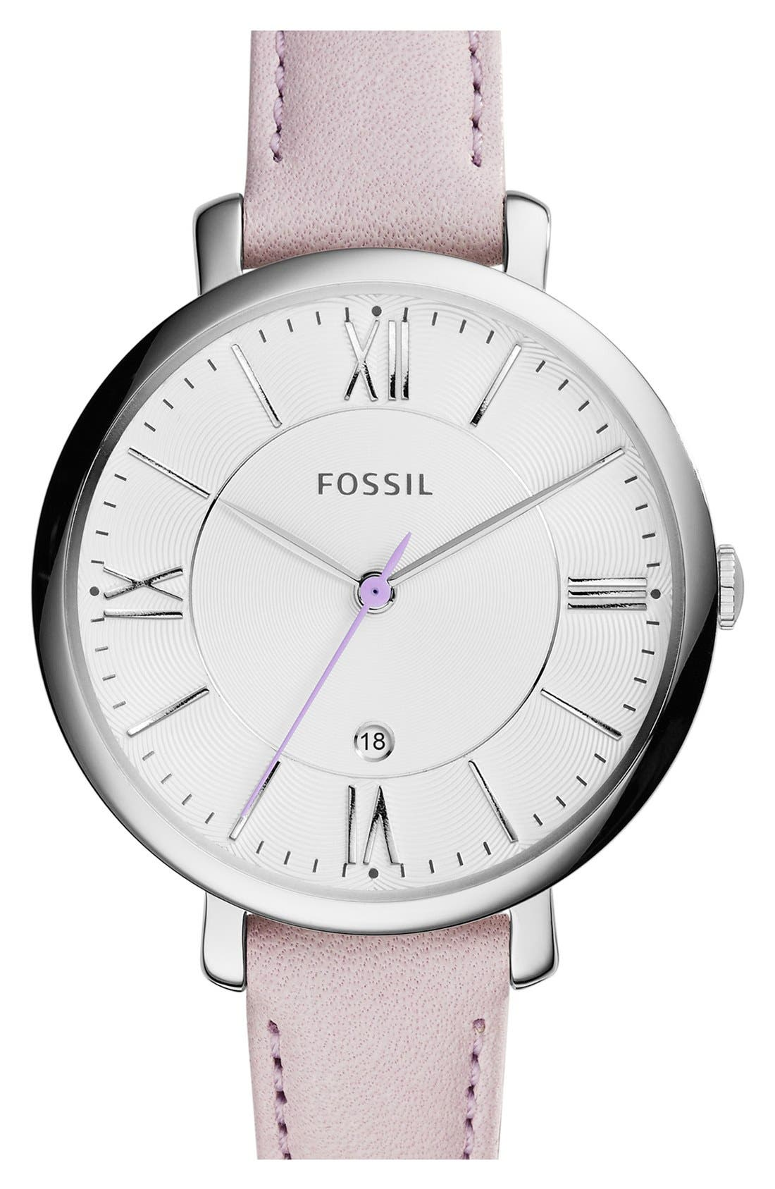 'Jacqueline' Round Leather Strap Watch, 36mm,                             Main thumbnail 16, color,