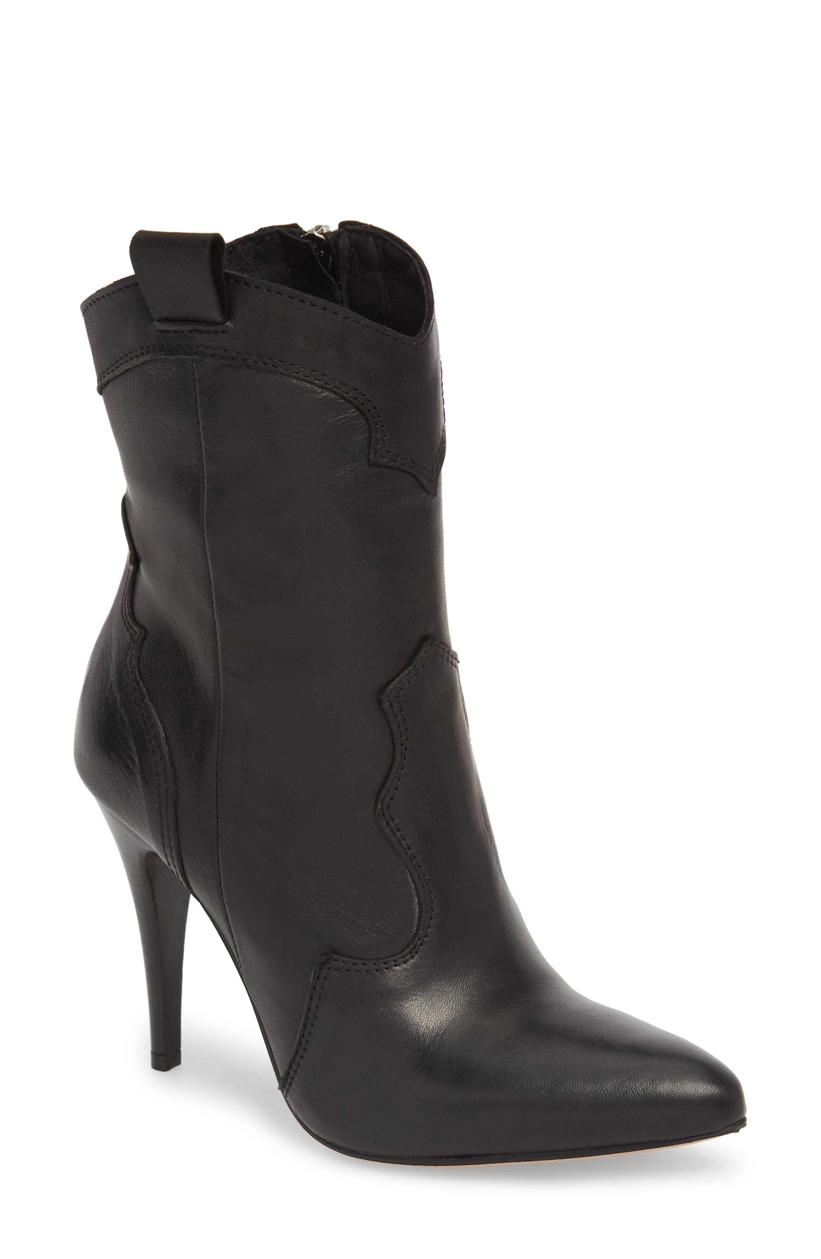 Kimberly Western Bootie,                             Main thumbnail 1, color,                             BLACK LEATHER