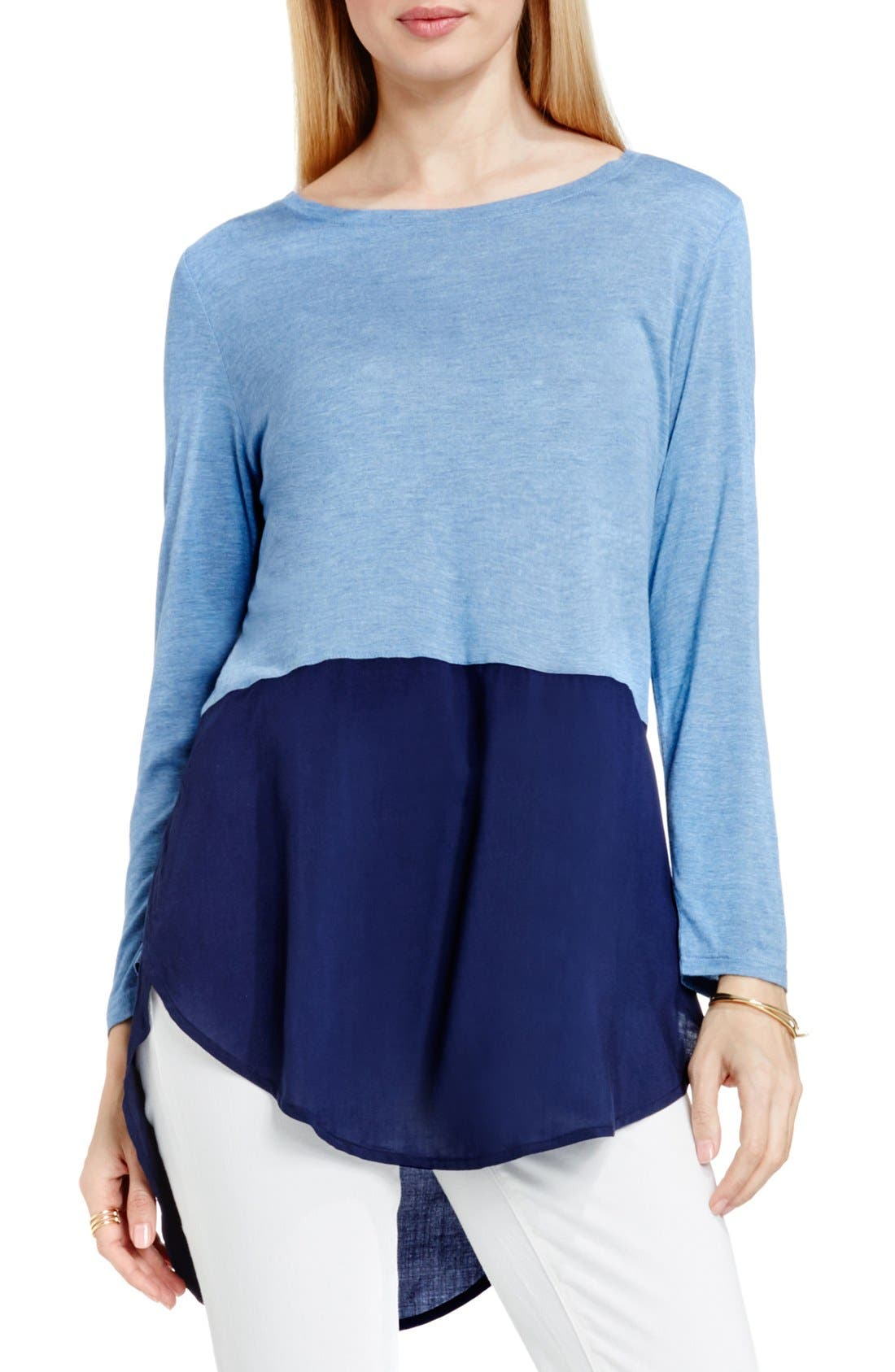 TWO BY VINCE CAMUTO Mixed Media Jewel Neck Tunic in Indigo Heather