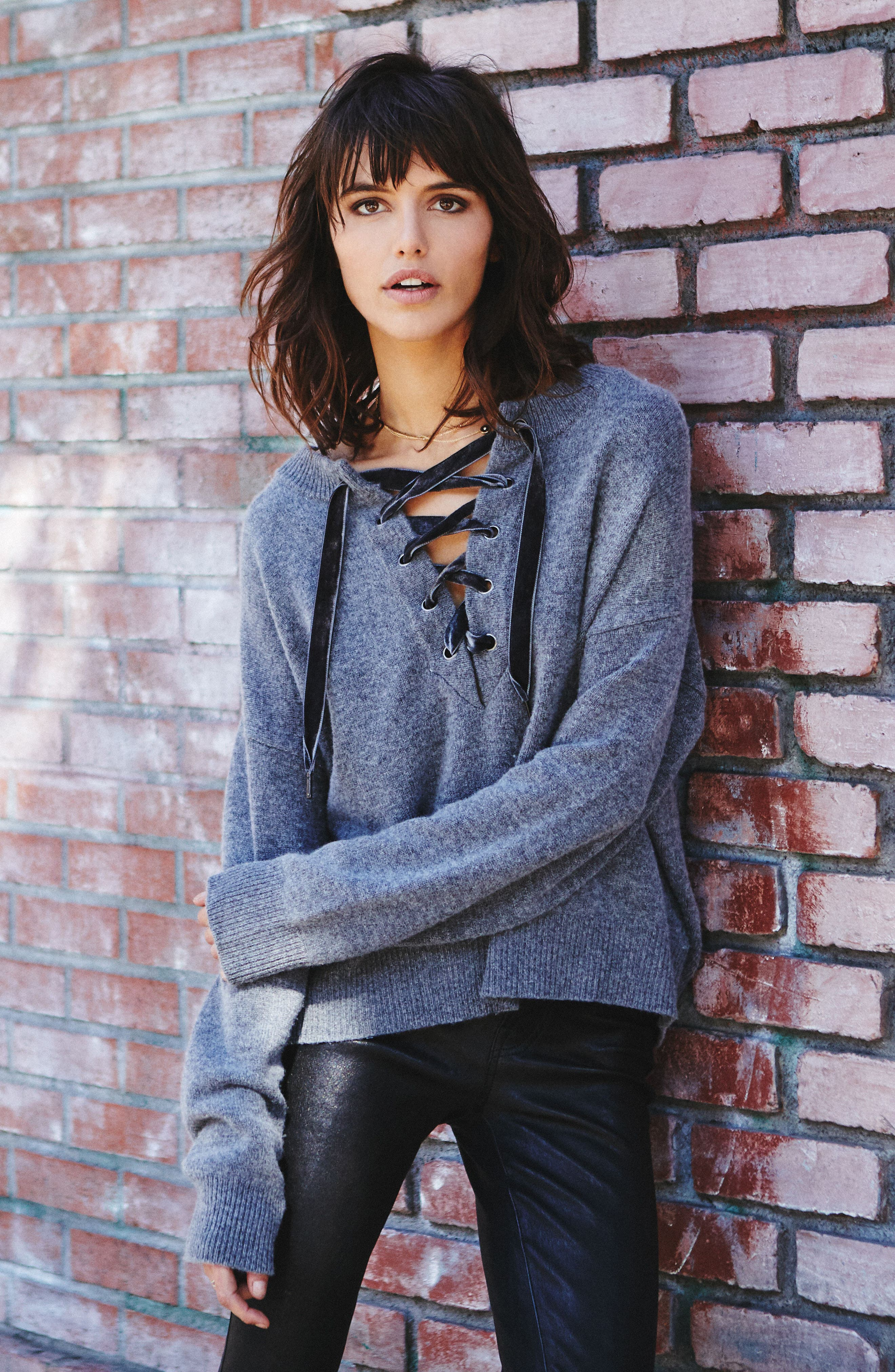 Olivia Lace-Up Sweater,                             Alternate thumbnail 9, color,                             ASH