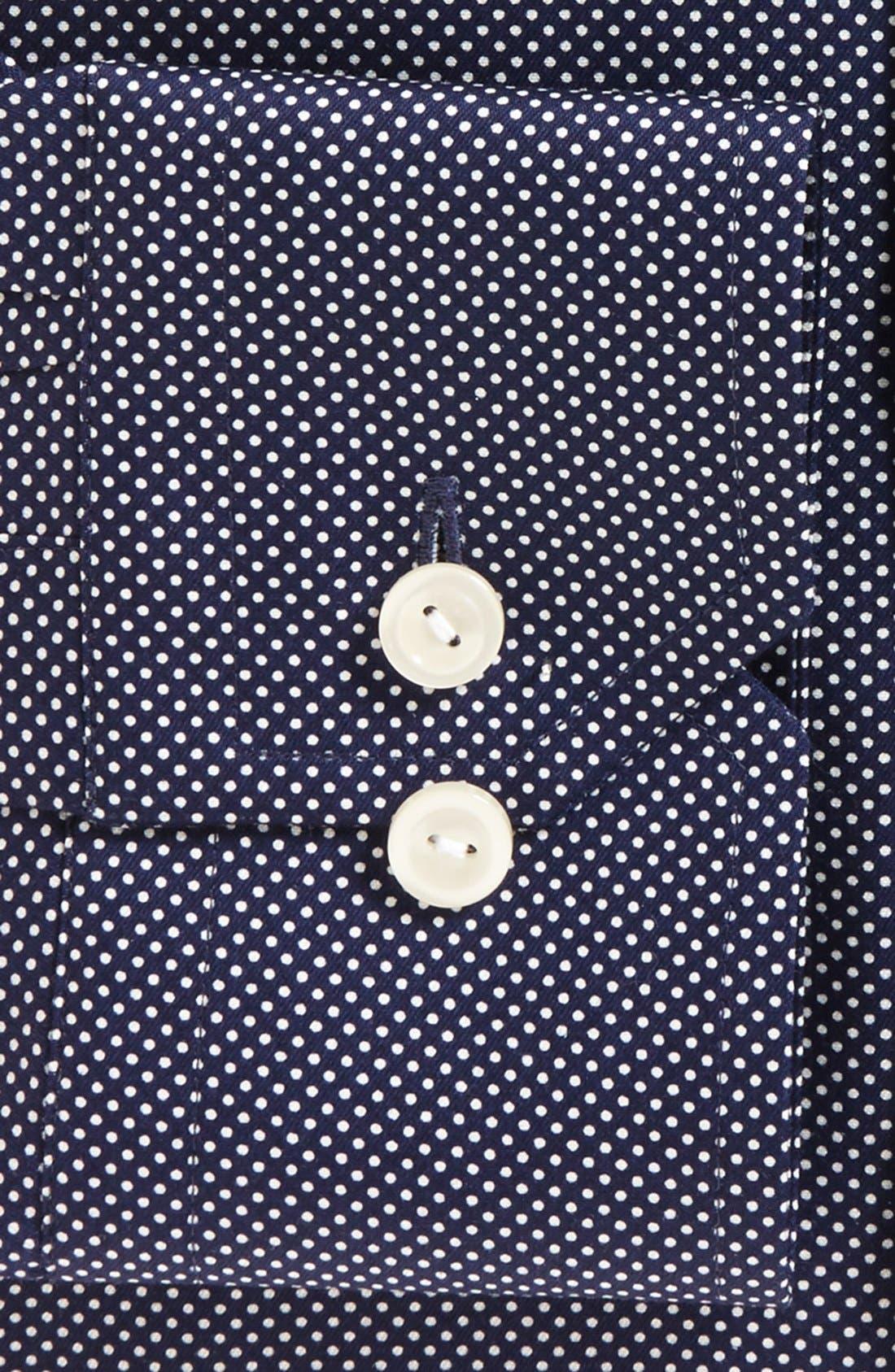 Contemporary Fit Signature Polka Dot Dress Shirt,                             Alternate thumbnail 4, color,                             BLUE