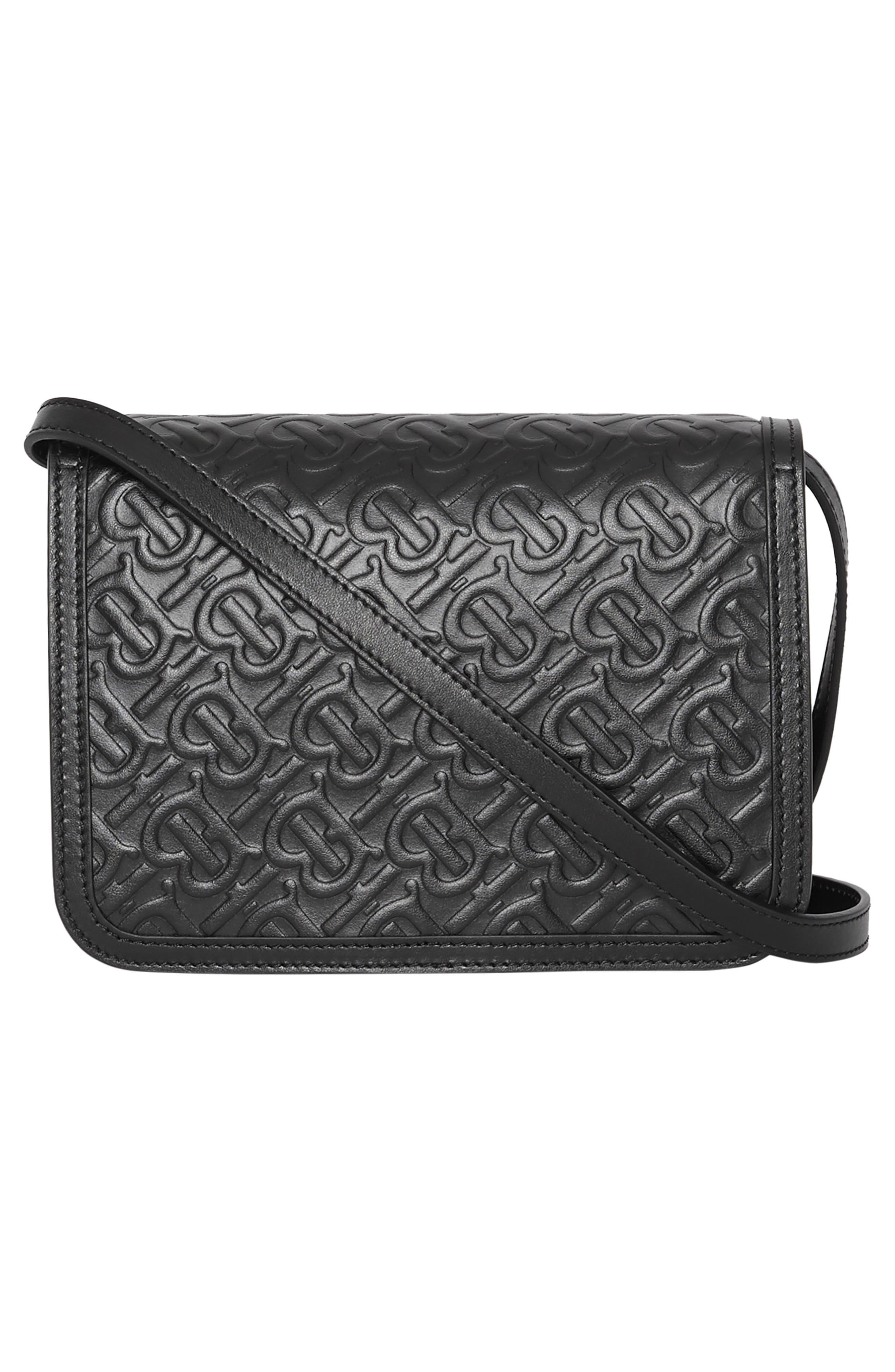 BURBERRY,                             Small Monogram Leather TB Bag,                             Alternate thumbnail 2, color,                             BLACK
