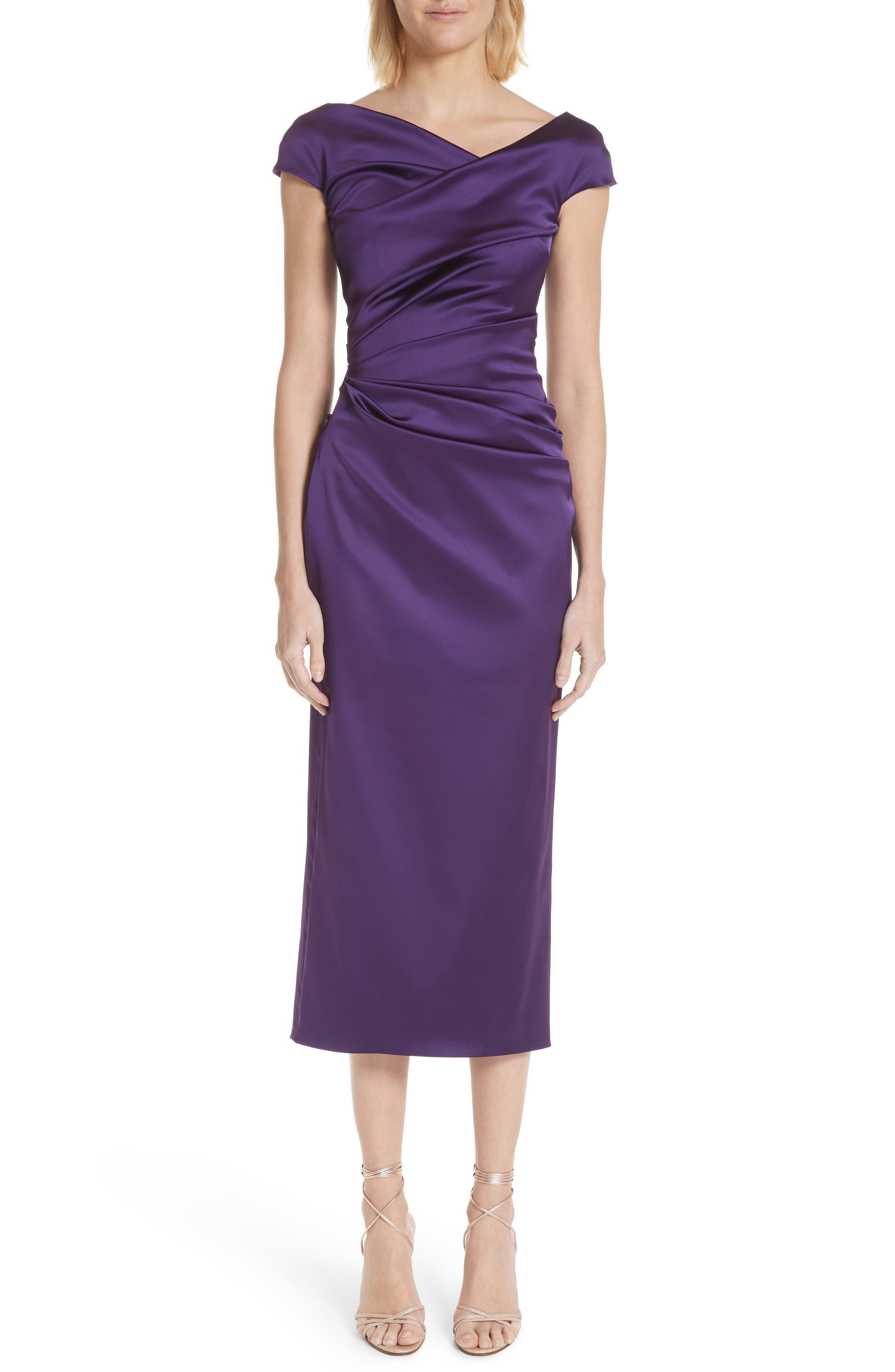 Talbot Runhof Stretch Duchess Satin Dress, Purple