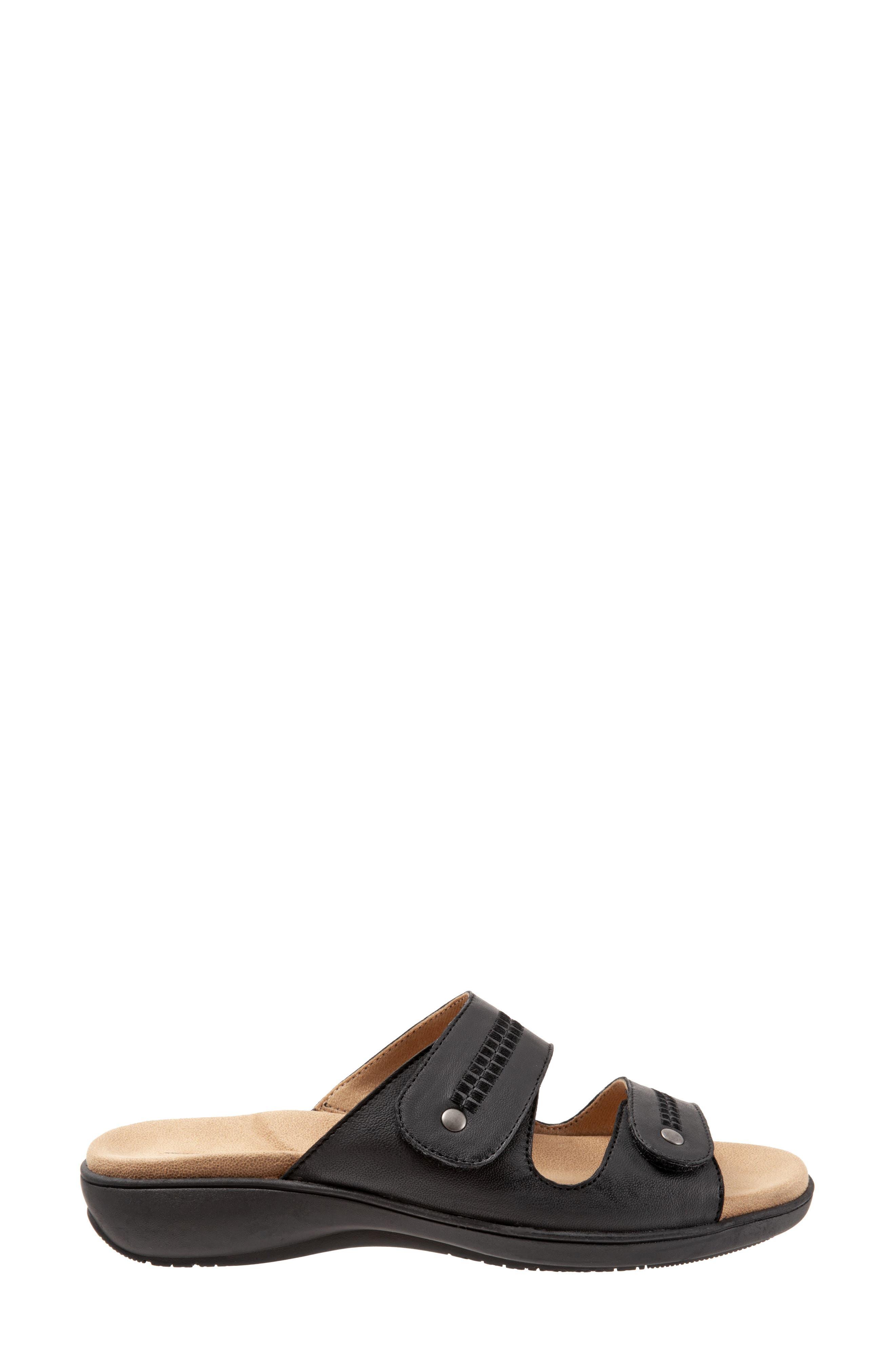 Vale Double Strap Slide Sandal,                             Alternate thumbnail 3, color,                             BLACK LEATHER