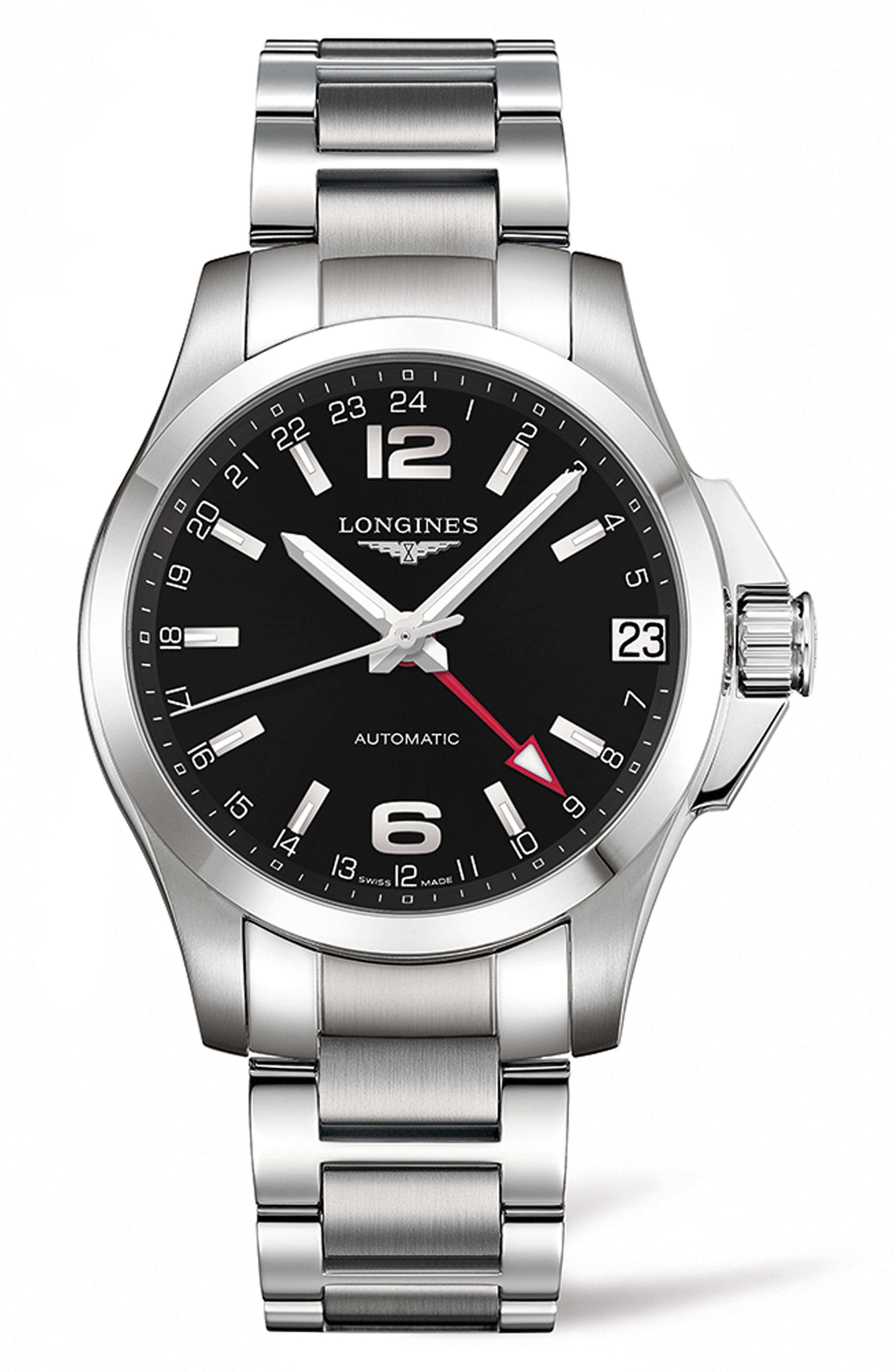 Conquest Automatic Bracelet Watch, 41mm,                         Main,                         color, SILVER/ BLACK/ SILVER