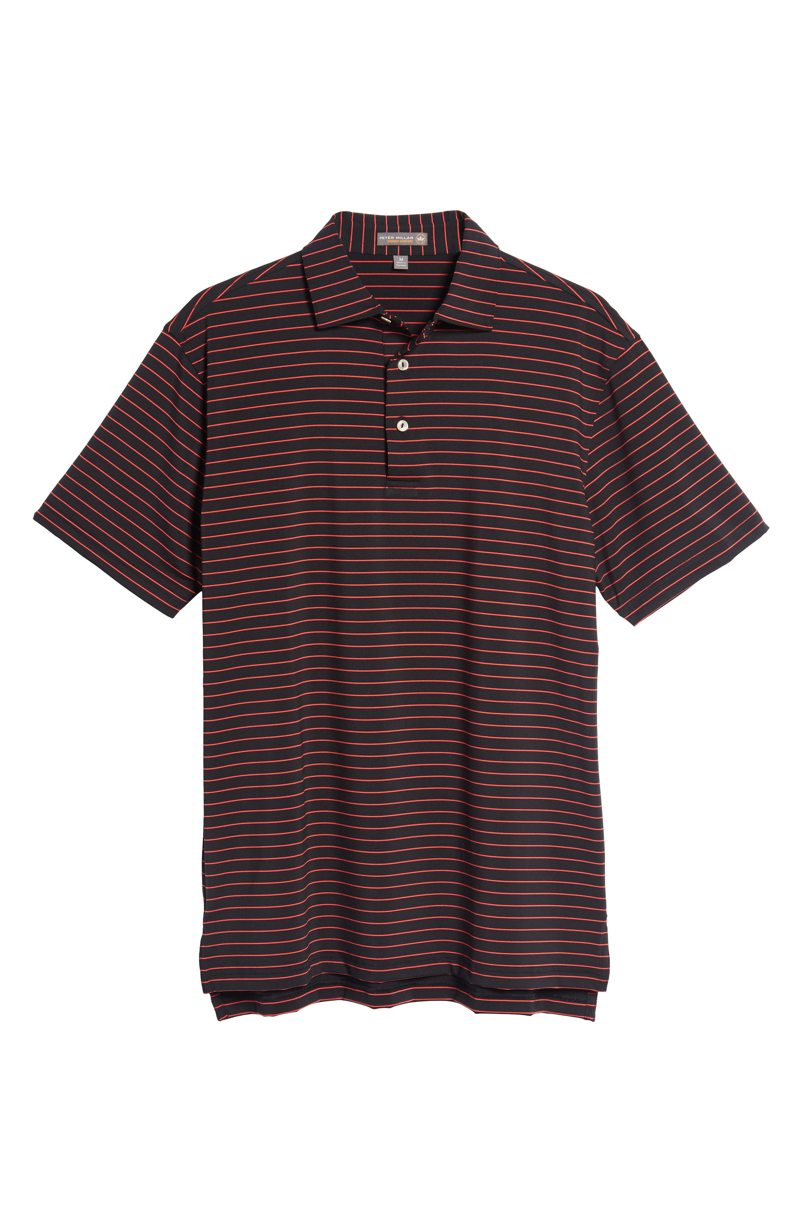 Halifax Pinstripe Stretch Jersey Polo,                             Alternate thumbnail 6, color,                             001