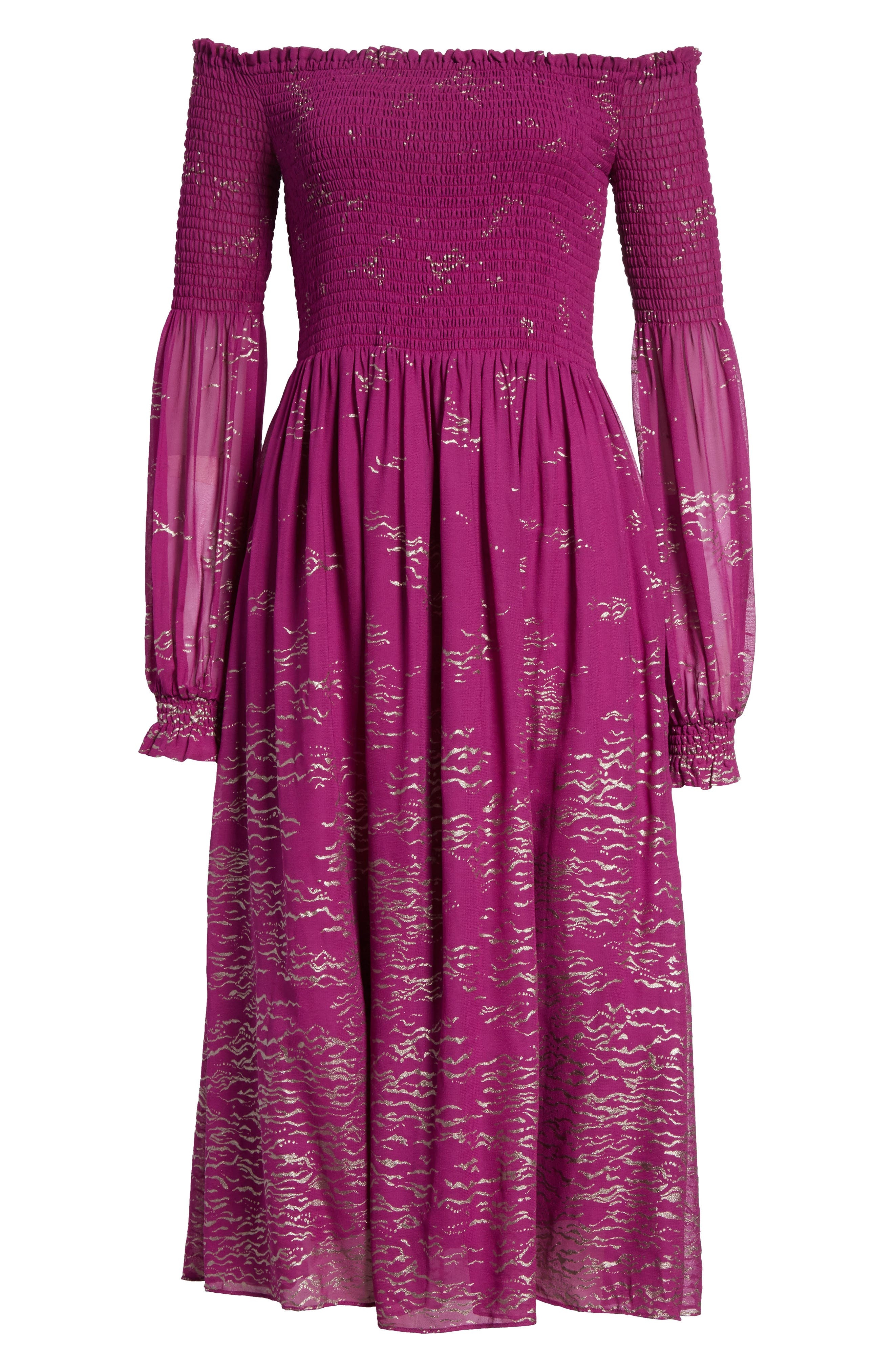 Foiled Smocked Midi Dress,                             Alternate thumbnail 14, color,