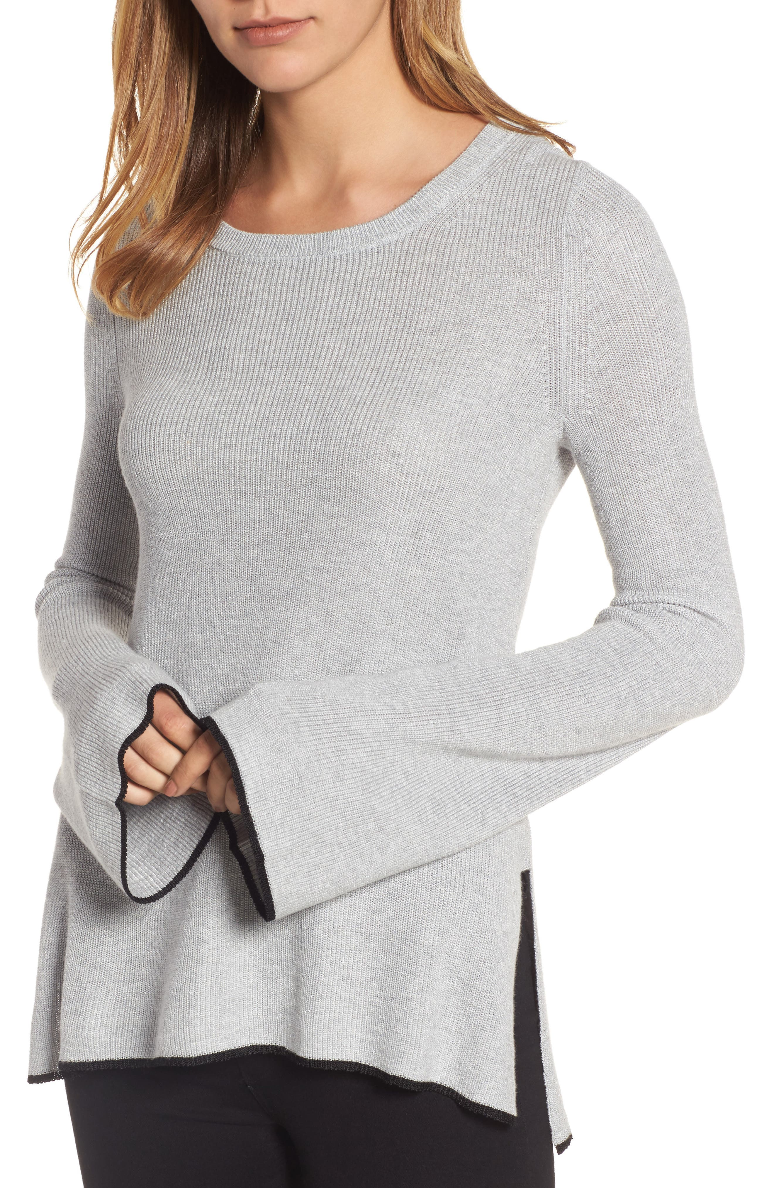 Tipped Bell Sleeve Sweater,                             Main thumbnail 3, color,