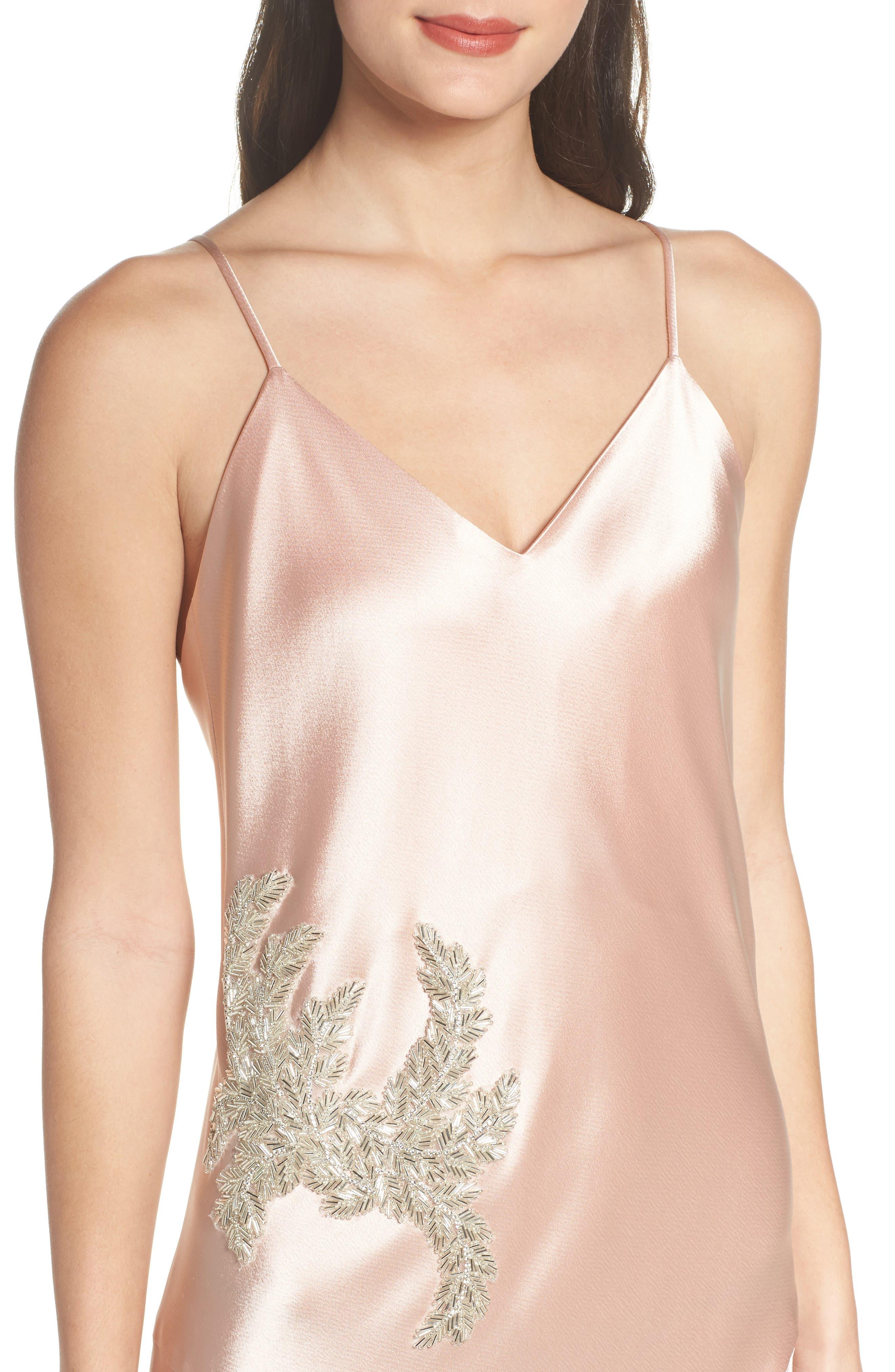 Carmen Embellished Satin Slip Gown,                             Alternate thumbnail 4, color,                             691