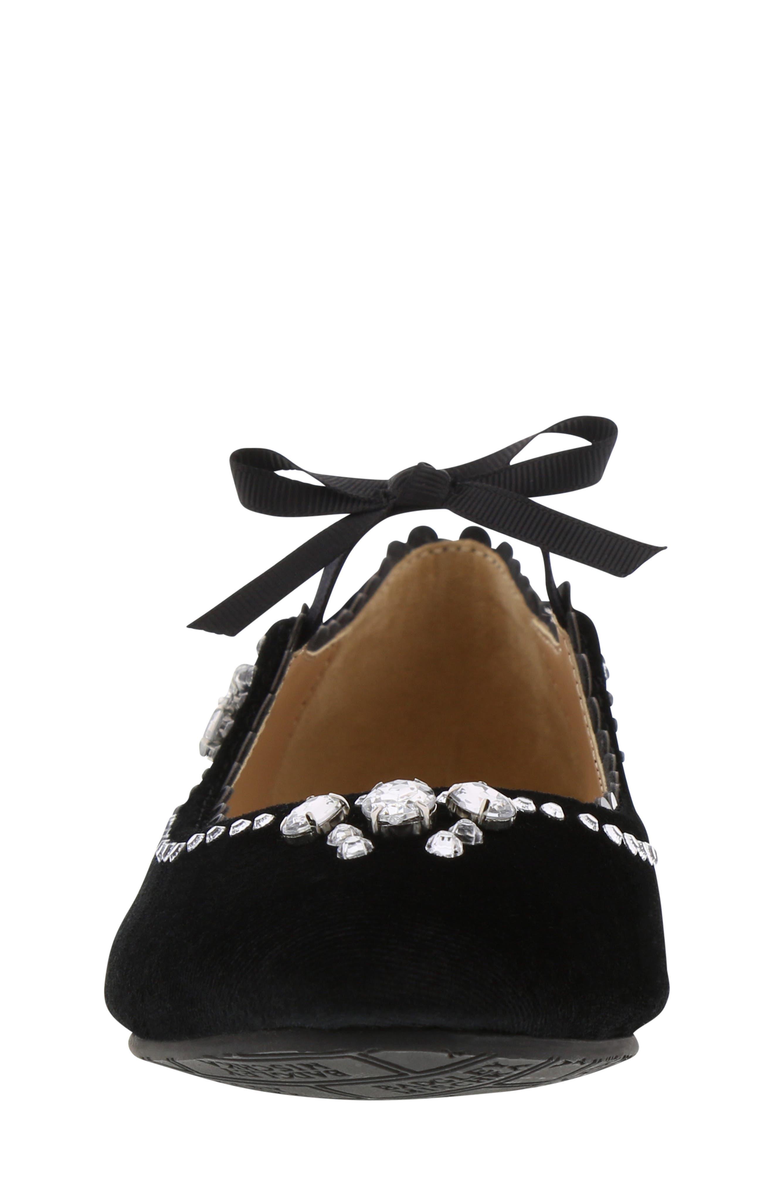 Badgley Mischka Amber Scallop Embellished Flat,                             Alternate thumbnail 4, color,                             BLACK