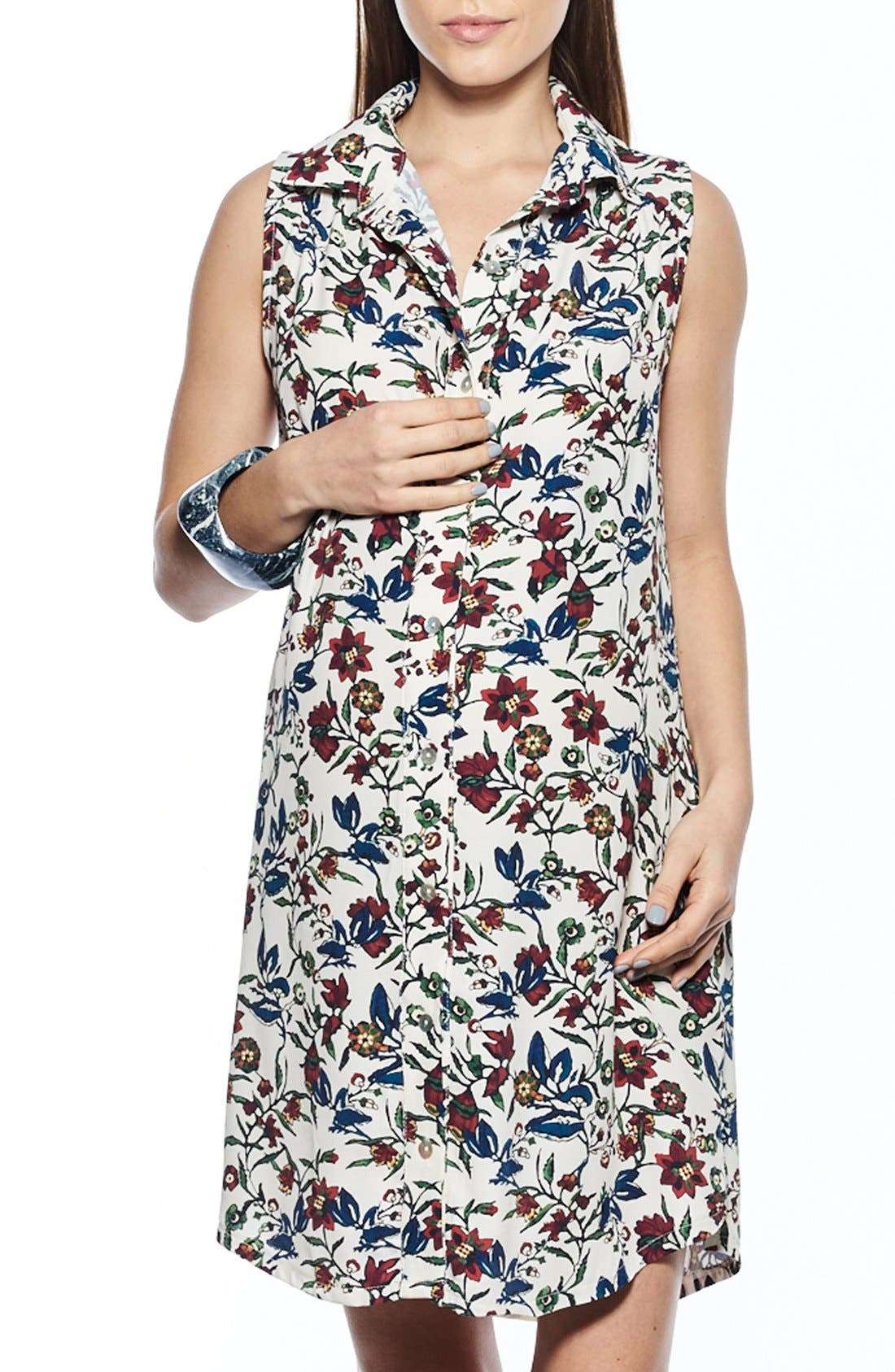 Button Down Maternity Shirtdress,                         Main,                         color, BURGUNDY FLORAL