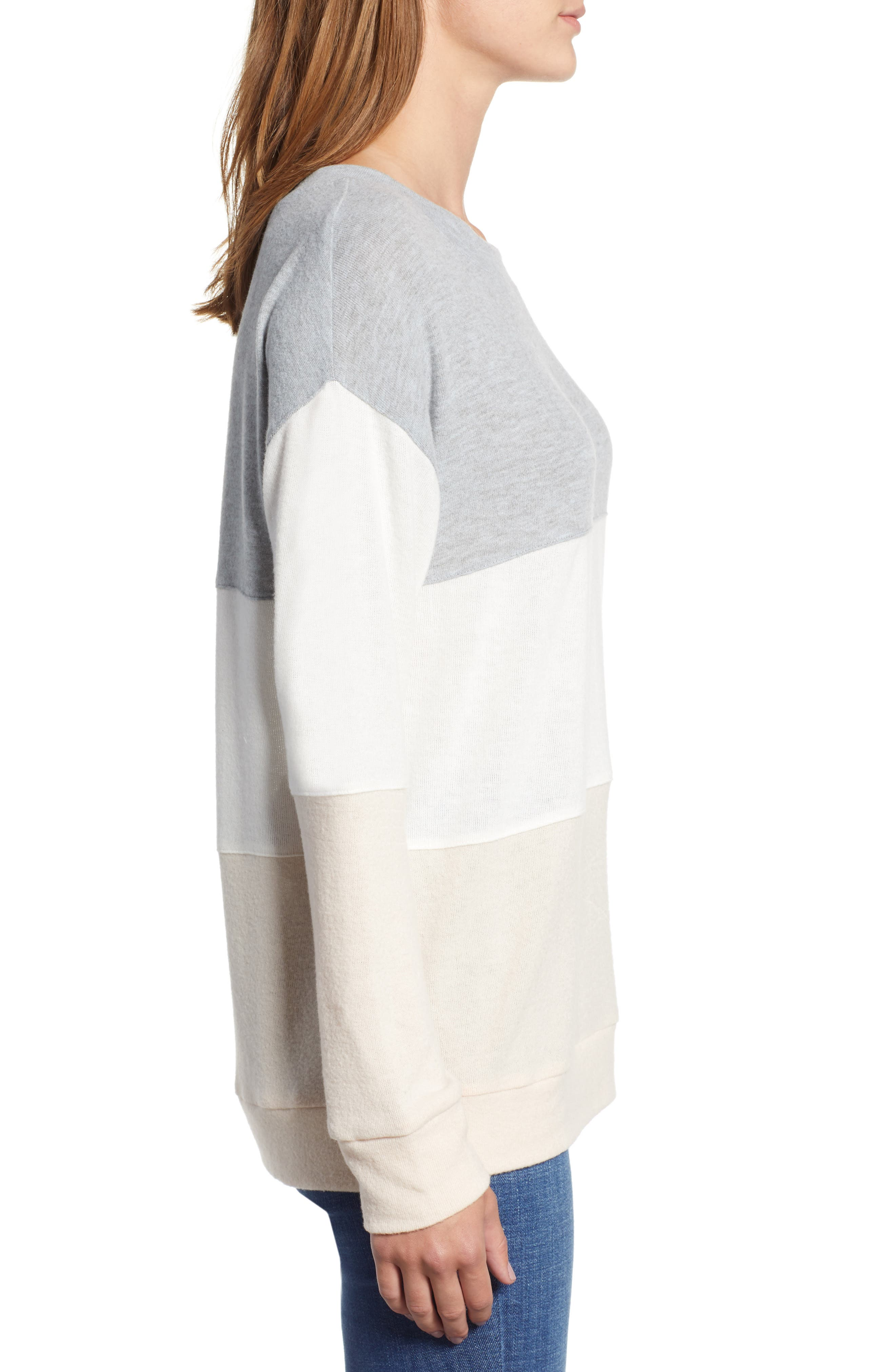 Colorblock Sweatshirt,                             Alternate thumbnail 3, color,                             GREY/ WHITE/ PINK