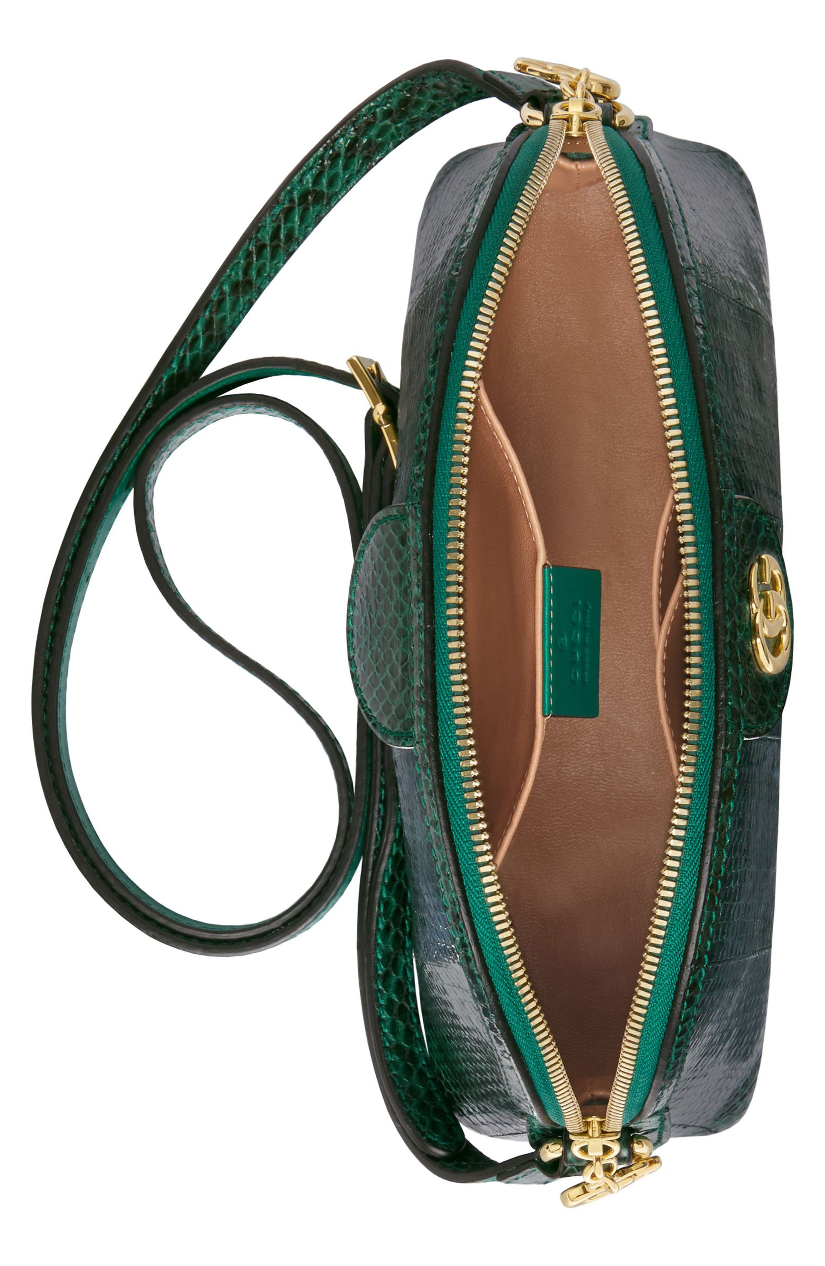 Small Ophidia Genuine Snakeskin Dome Satchel,                             Alternate thumbnail 3, color,                             EMERALD