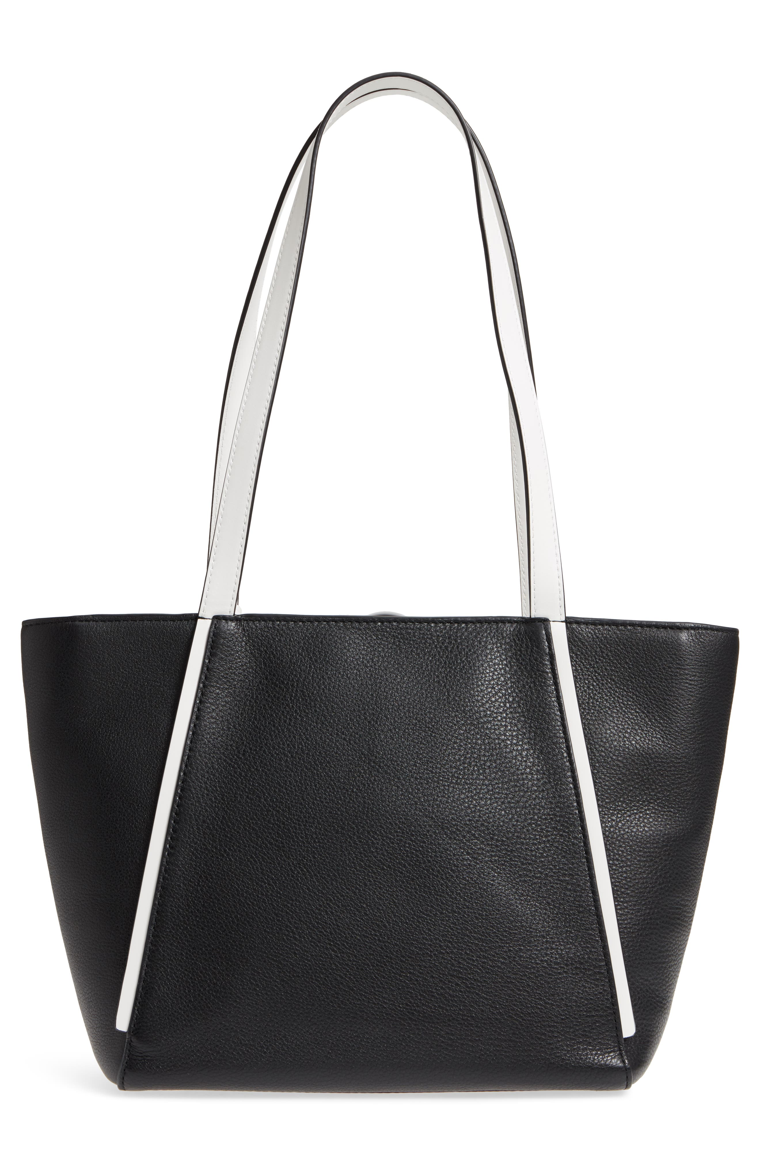 Small Whitney Leather Tote,                             Alternate thumbnail 3, color,                             001