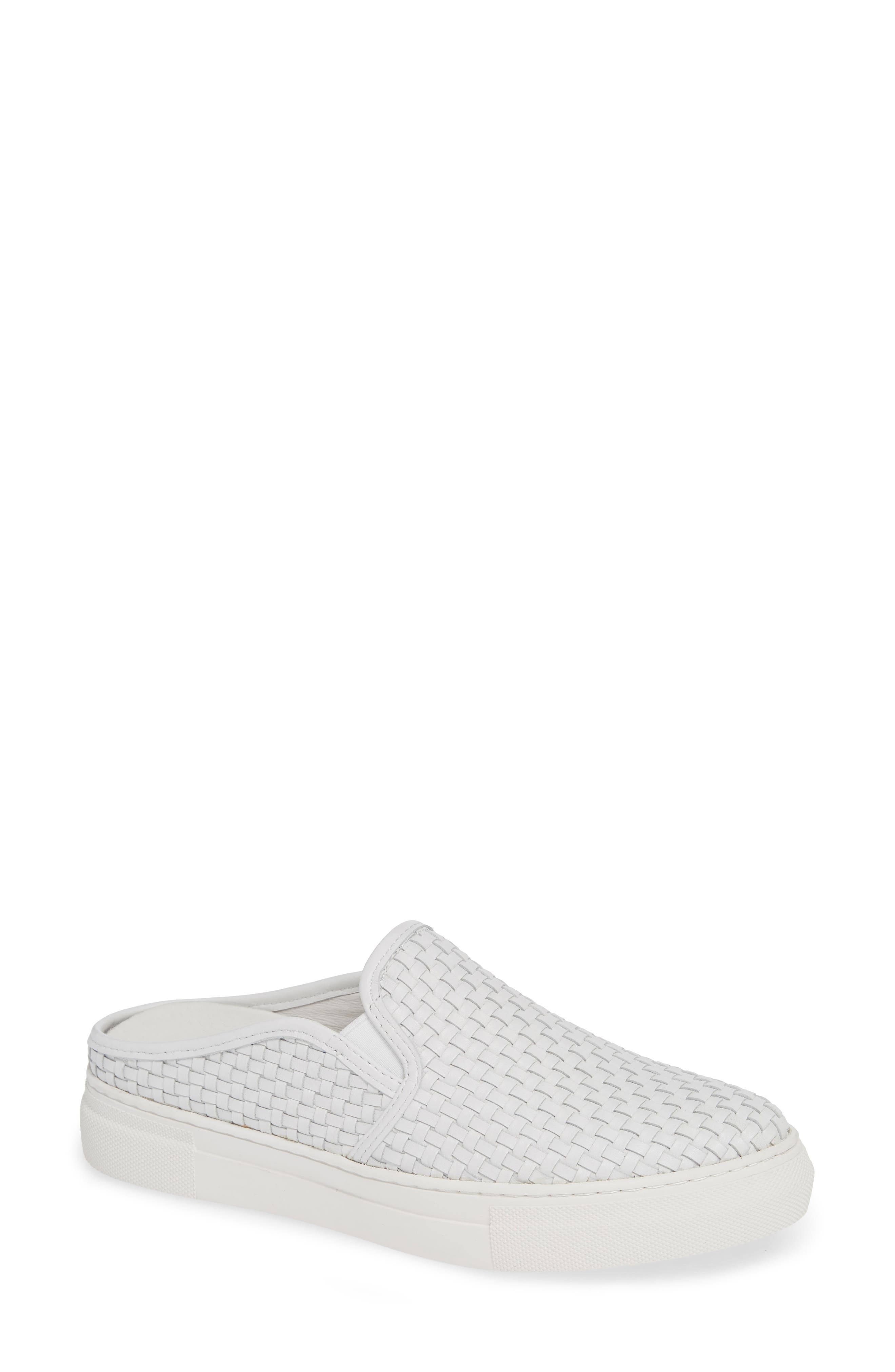 Fiona Woven Mule,                             Main thumbnail 1, color,                             WHITE LEATHER