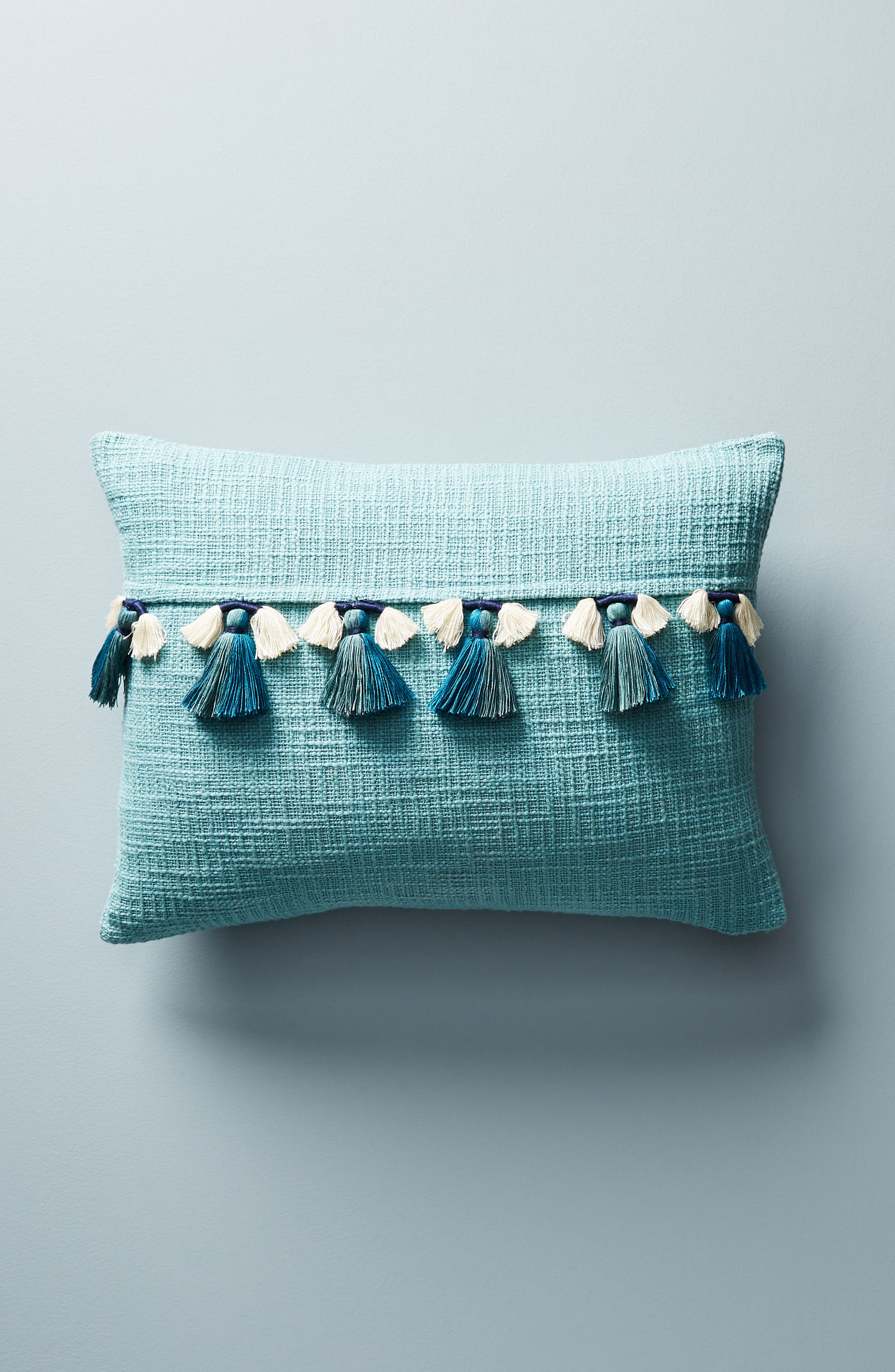ANTHROPOLOGIE Varied Tassel Accent Pillow, Main, color, 400