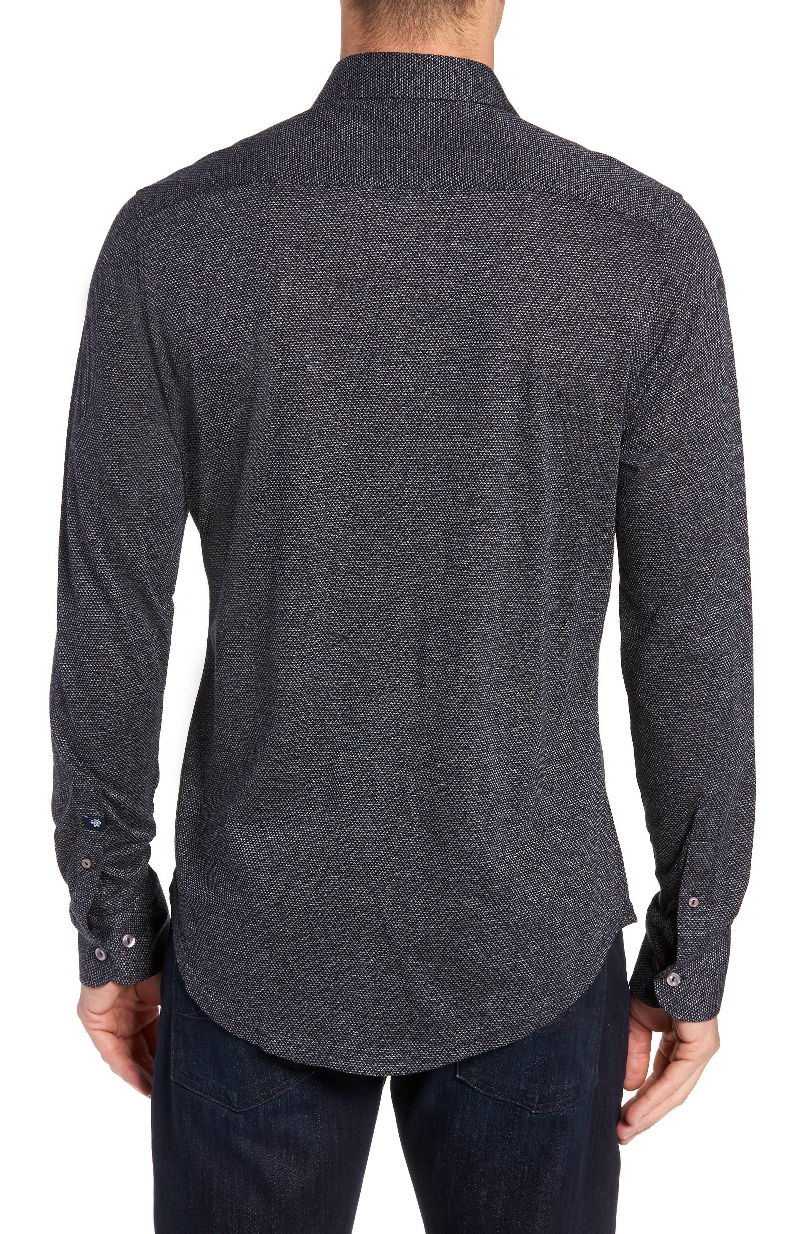 Trim Fit Jacquard Knit Sport Shirt,                             Alternate thumbnail 3, color,                             BLACK