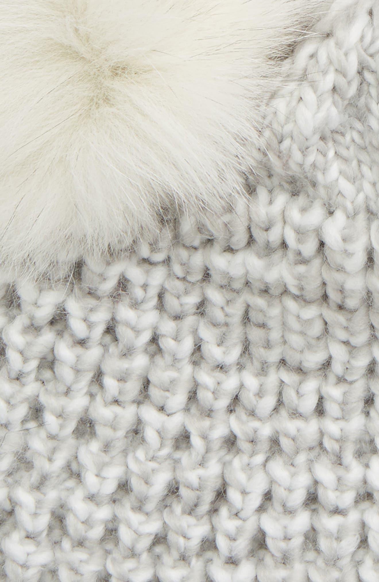 Genuine Fox Fur Pompoms Hat,                             Alternate thumbnail 2, color,                             GREY MARLED