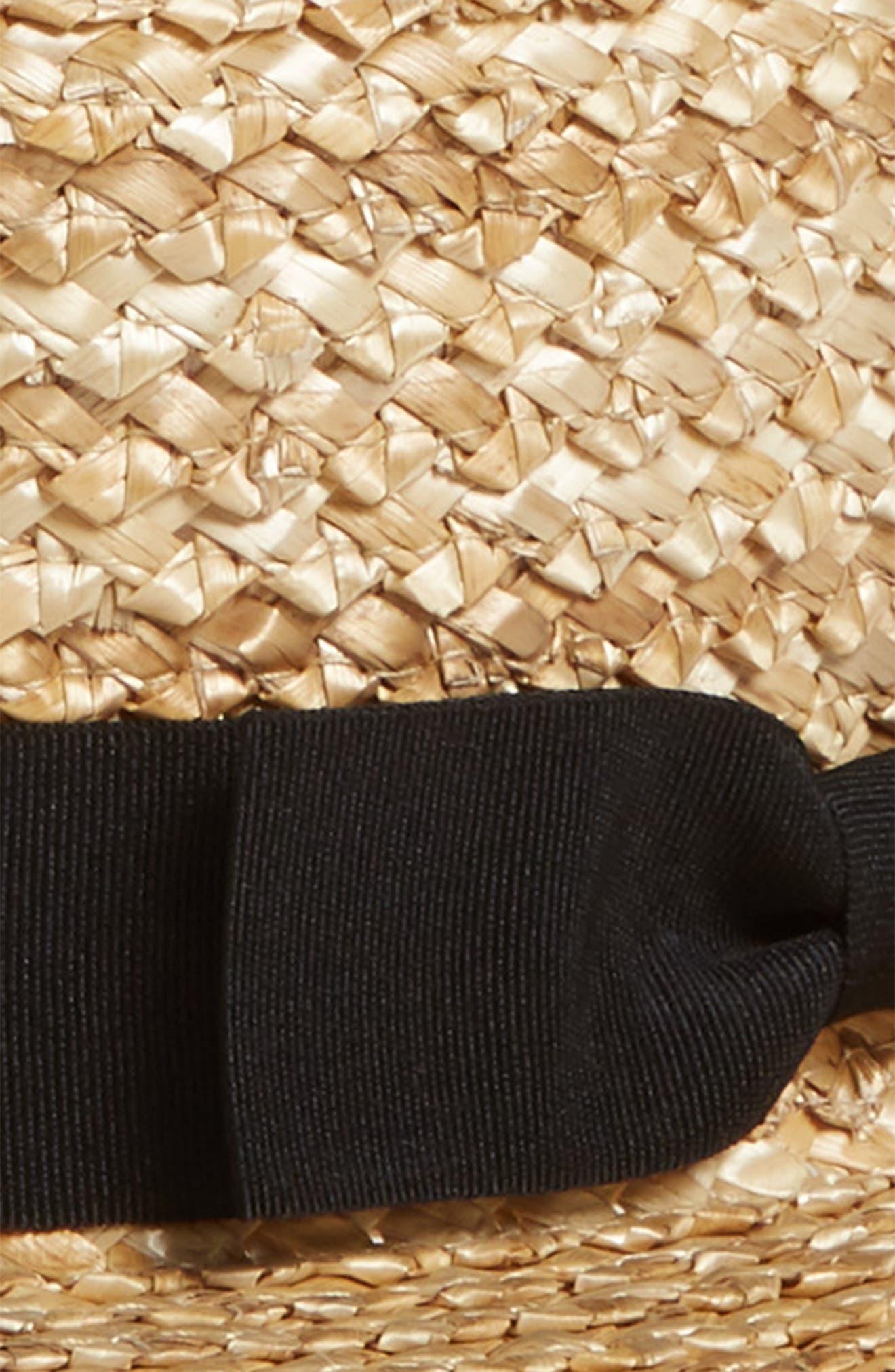Ribbon Straw Boater Hat,                             Alternate thumbnail 2, color,                             250
