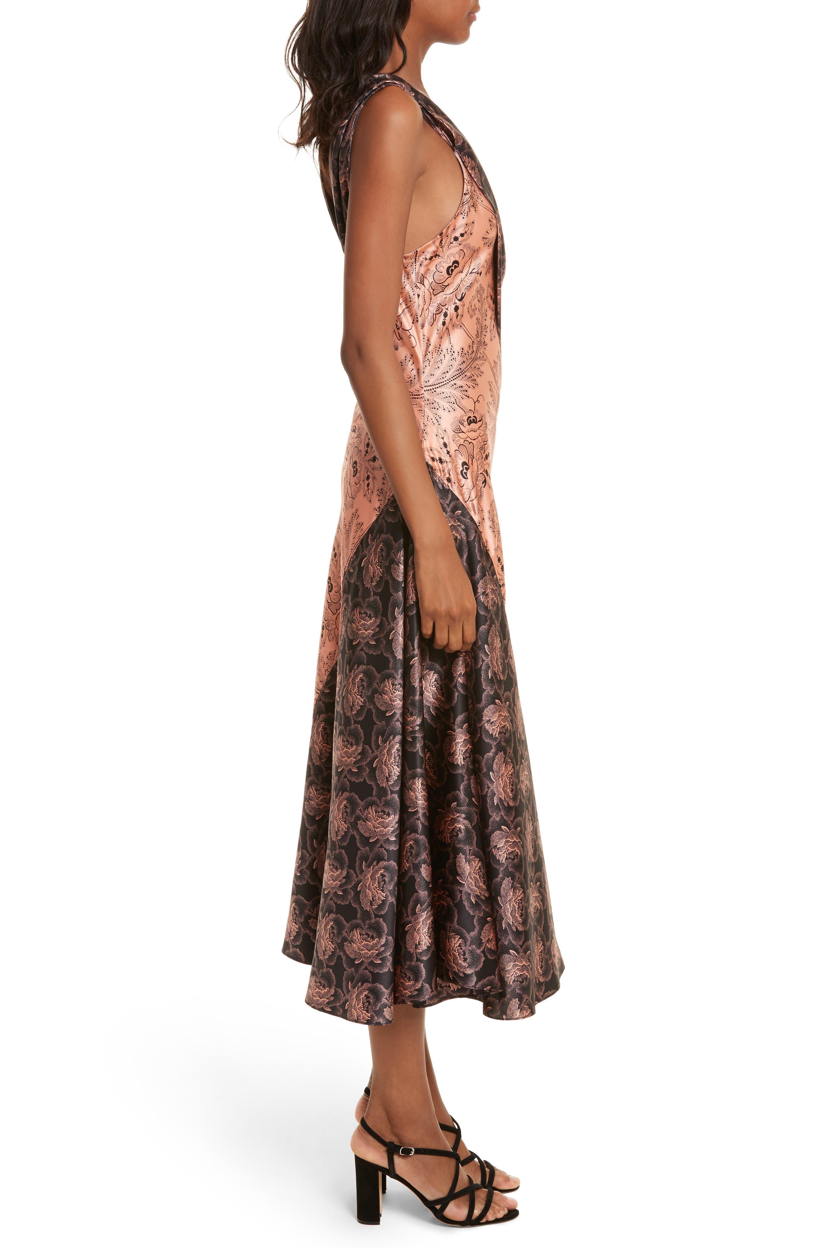 Diane von Furstenberg Draped Mixed Floral Midi Dress,                             Alternate thumbnail 3, color,                             654