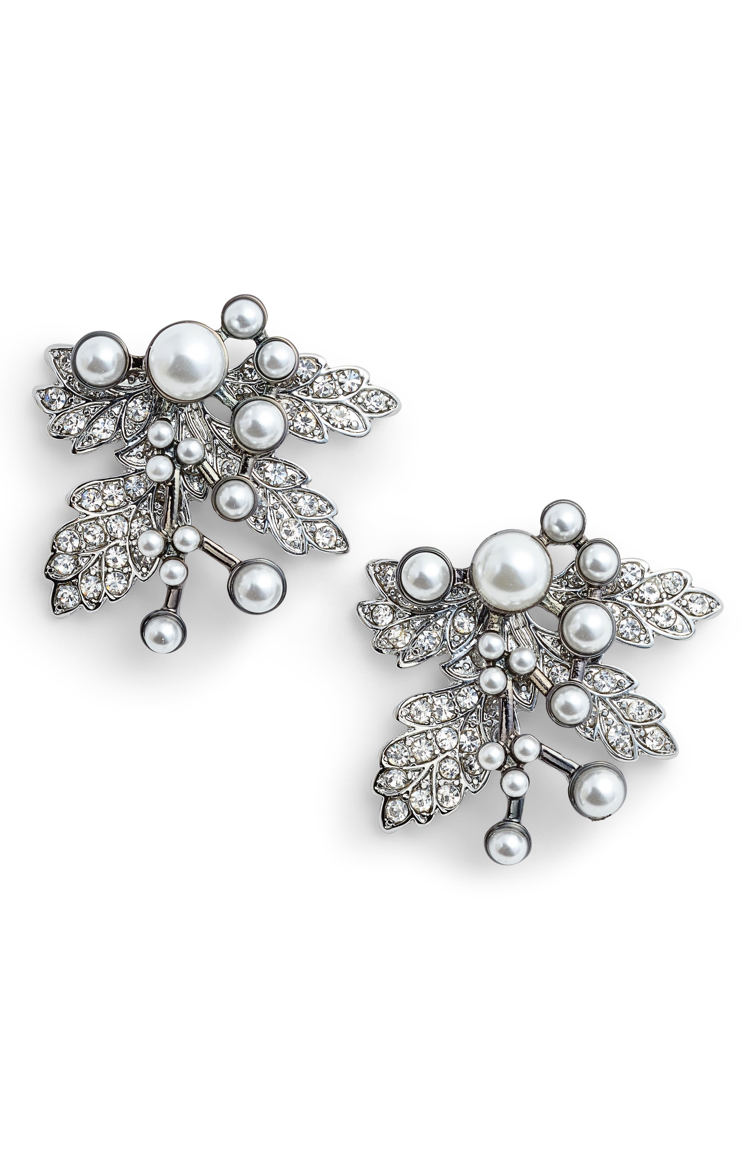 Imitation Pearl Crystal Leaf Earrings,                             Main thumbnail 1, color,                             SILVER