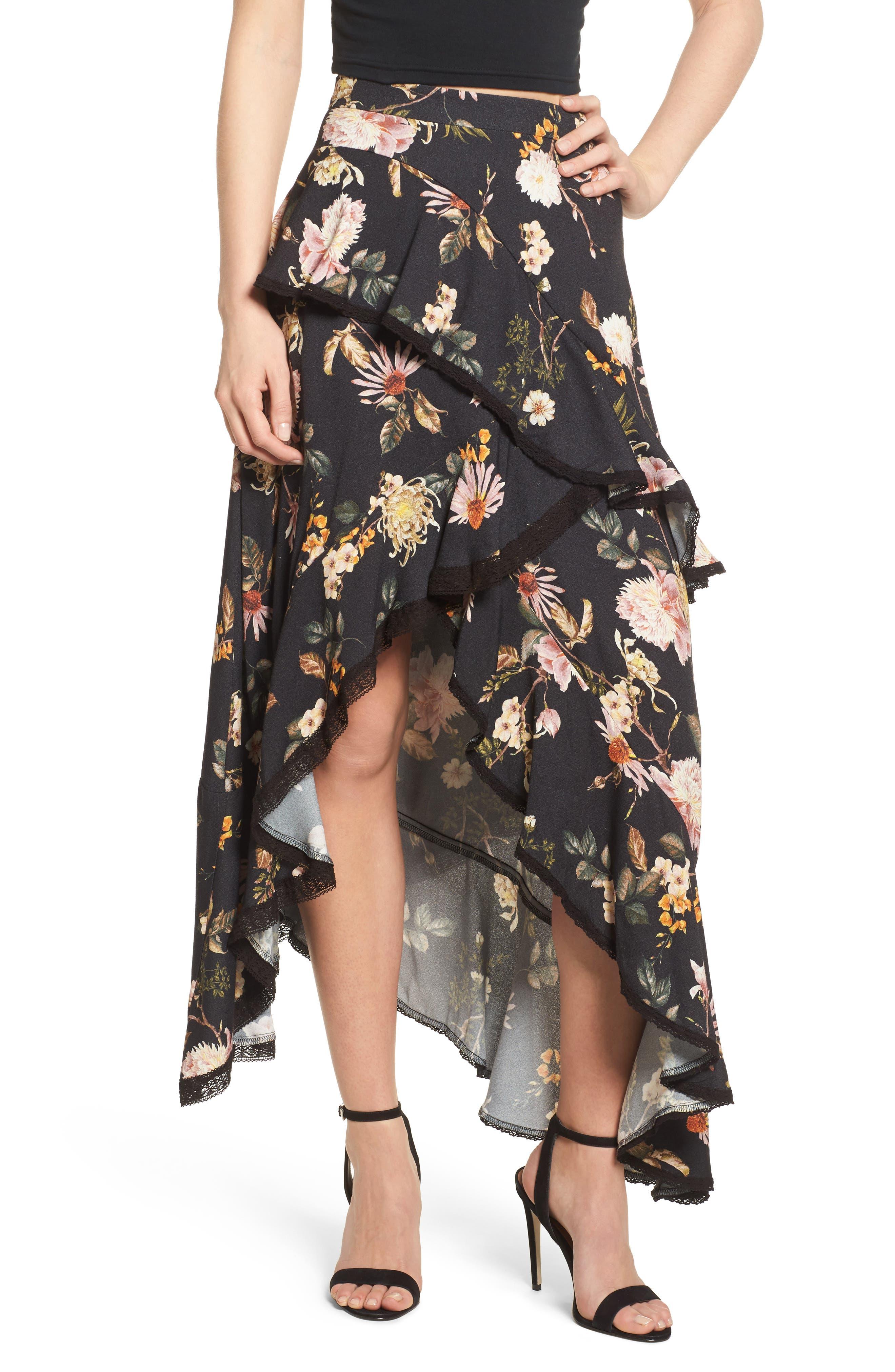 Grace Asymmetrical Ruffle Skirt,                             Main thumbnail 2, color,
