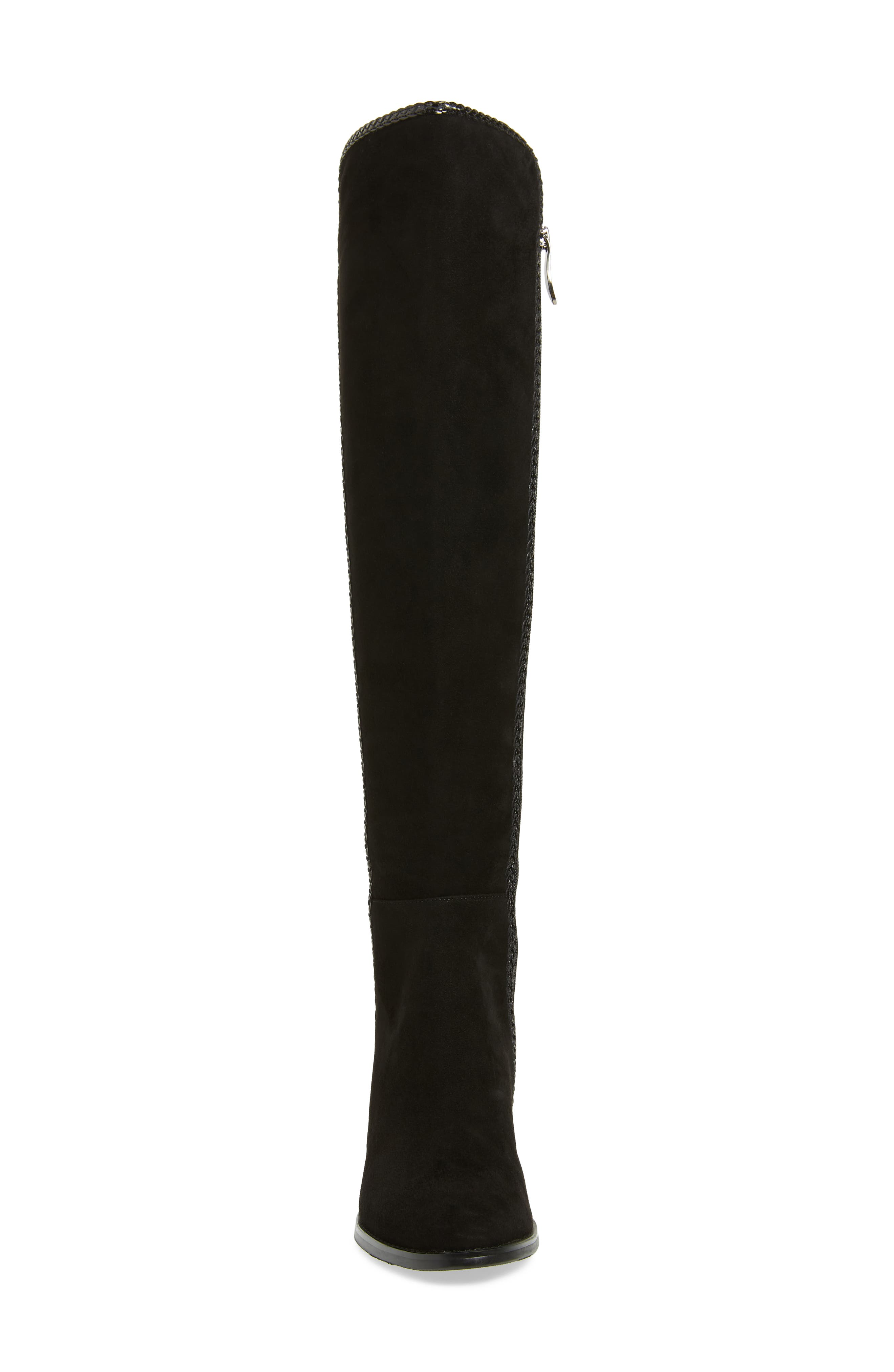 Florence Waterproof Over the Knee Boot,                             Alternate thumbnail 4, color,                             BLACK SUEDE