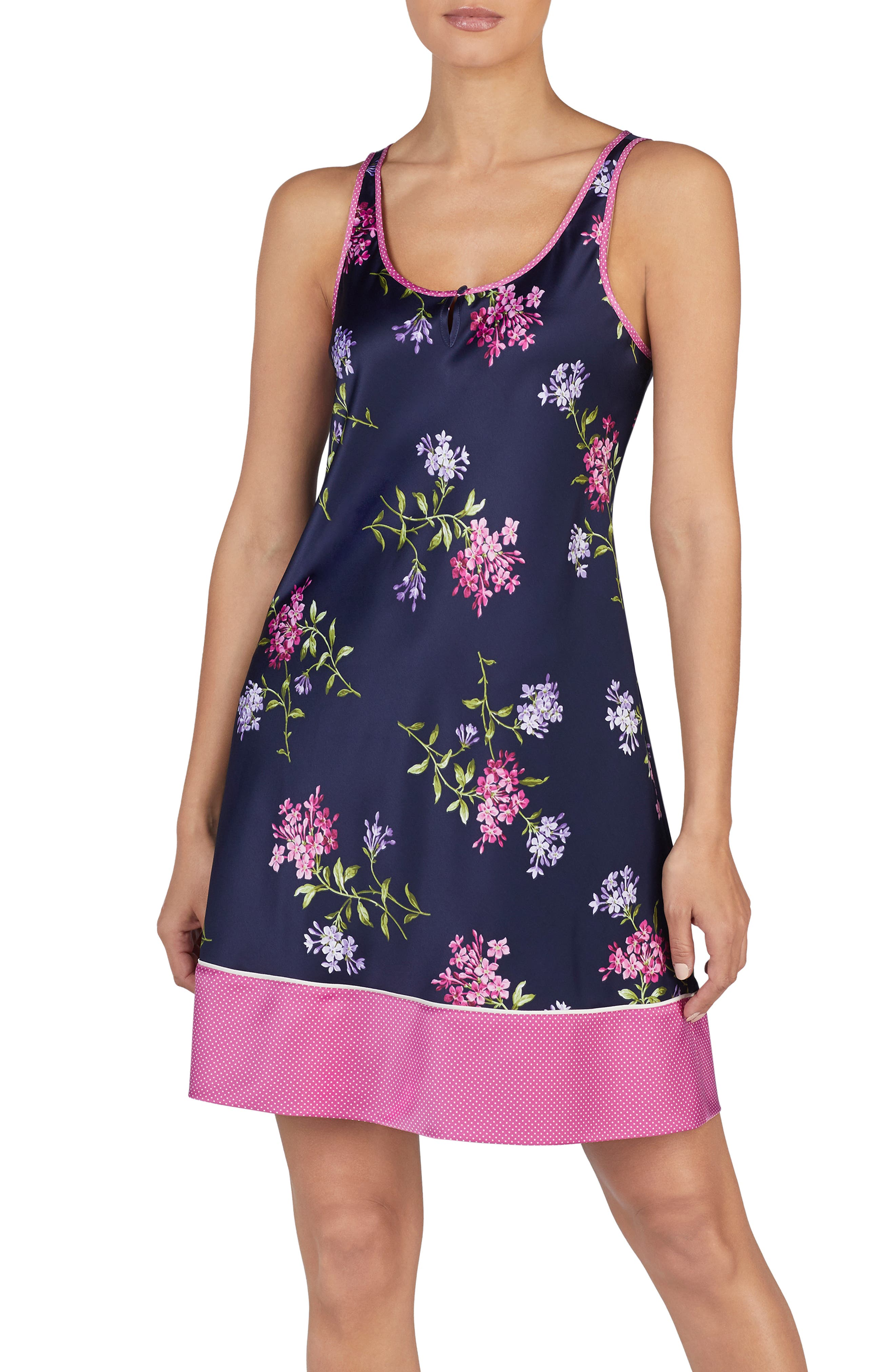 Keyhole Chemise in Navy Print