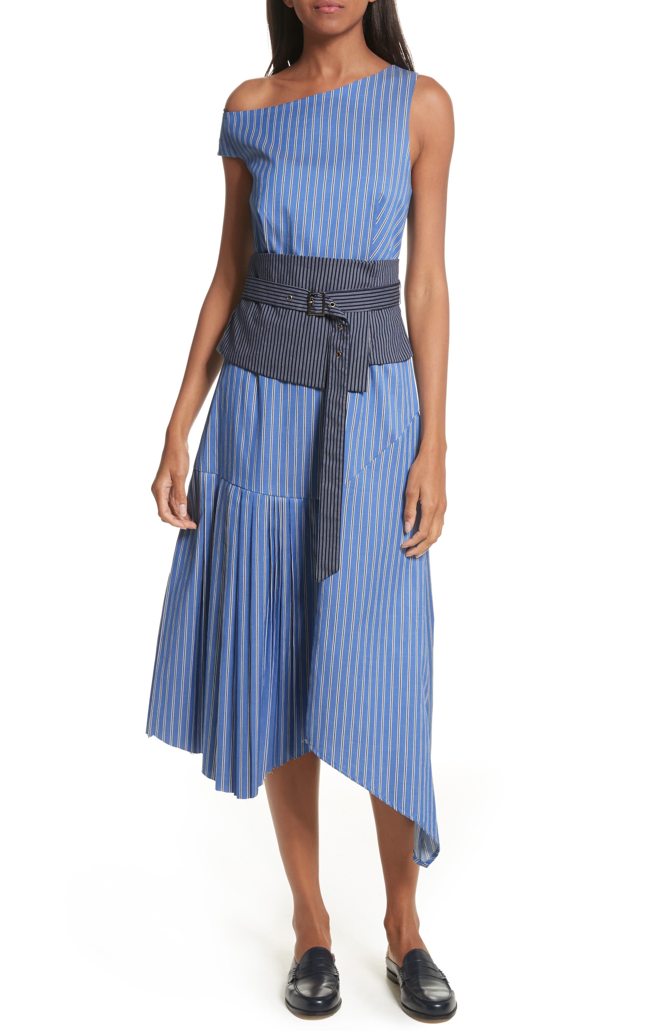 Belted Asymmetrical Midi Dress,                             Main thumbnail 1, color,                             402
