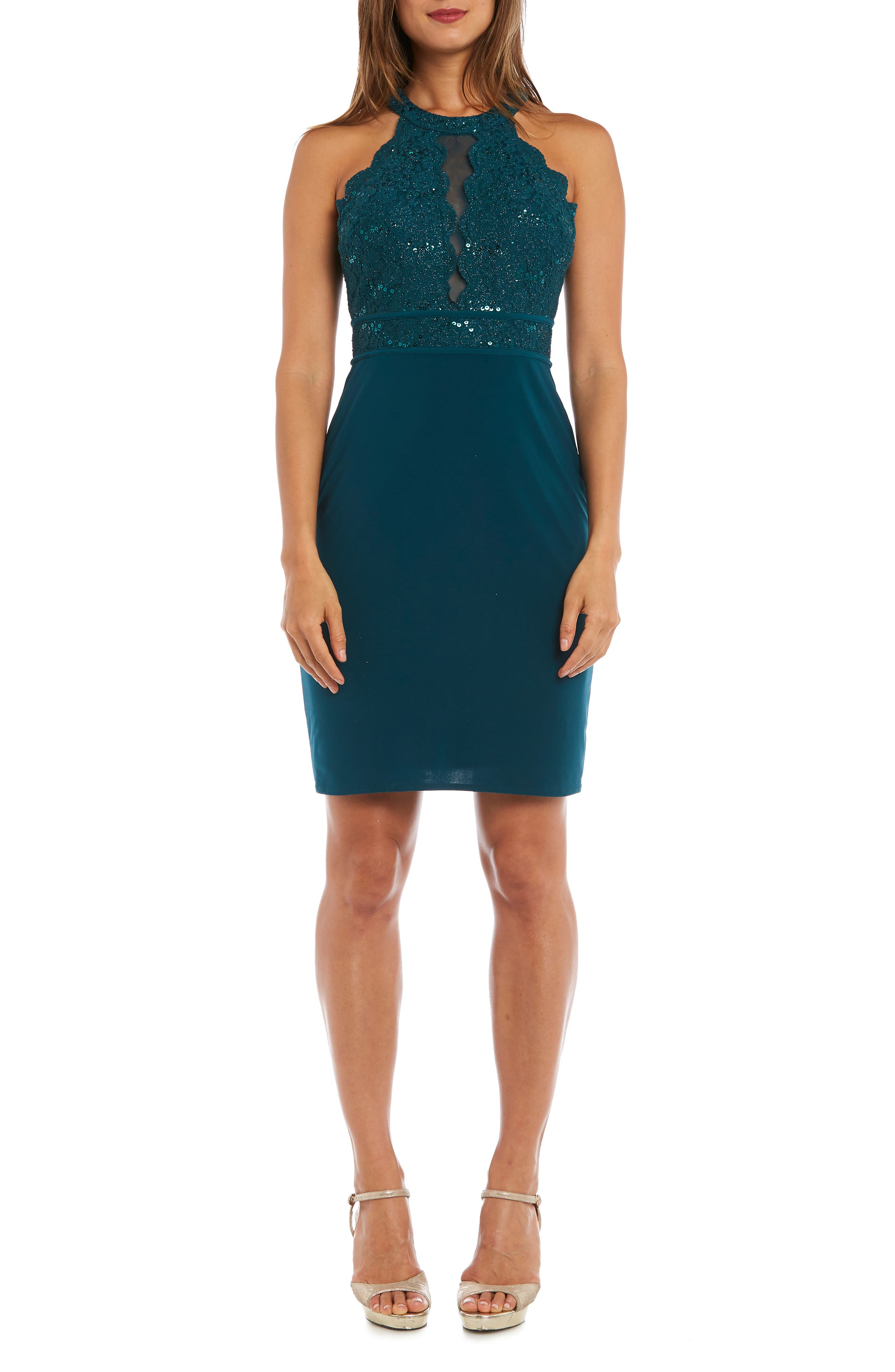 Sequin Lace Bodice Cocktail Sheath, Main, color, EMERALD