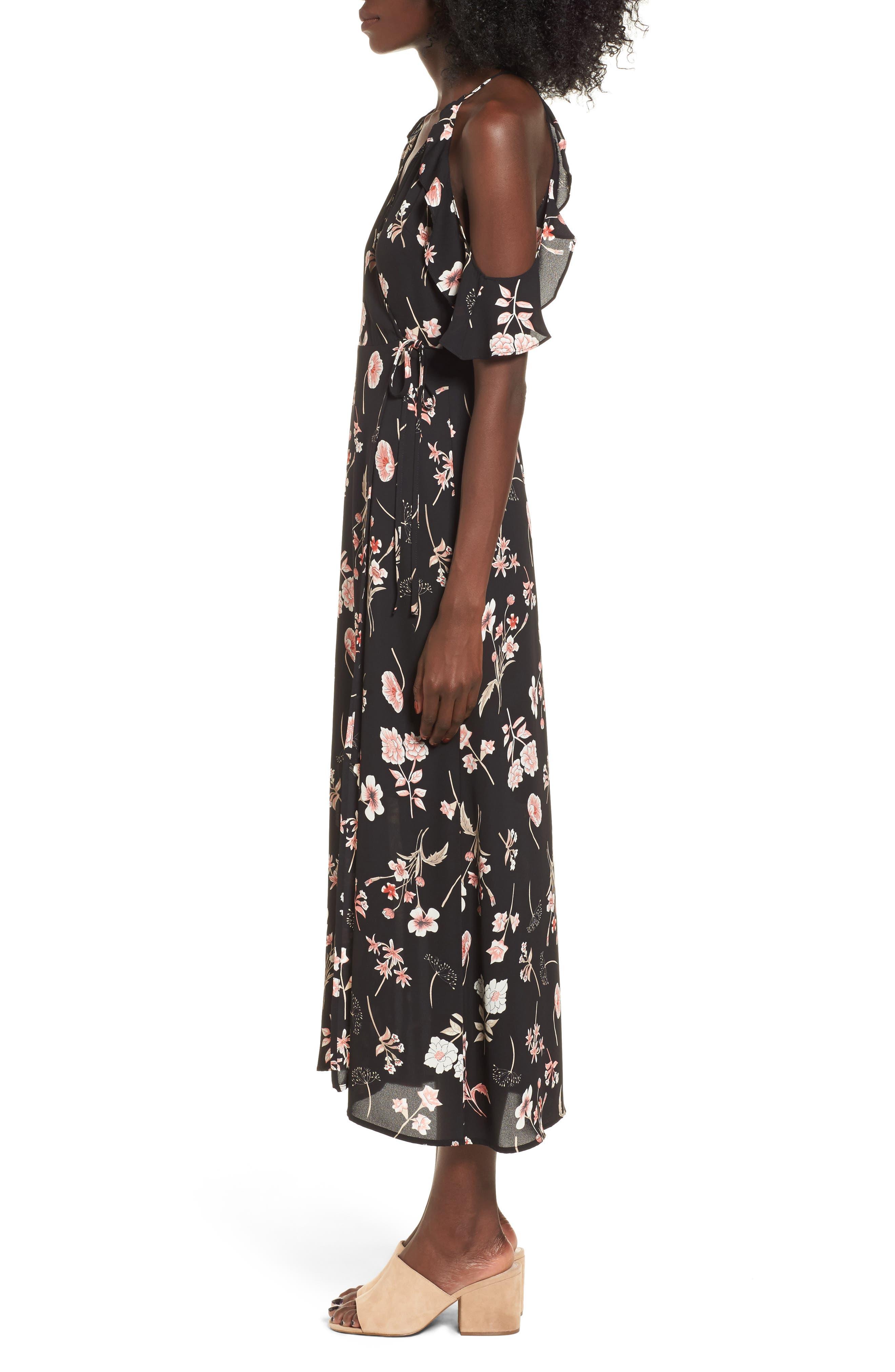 Floral Cold Shoulder Midi Dress,                             Alternate thumbnail 3, color,                             001