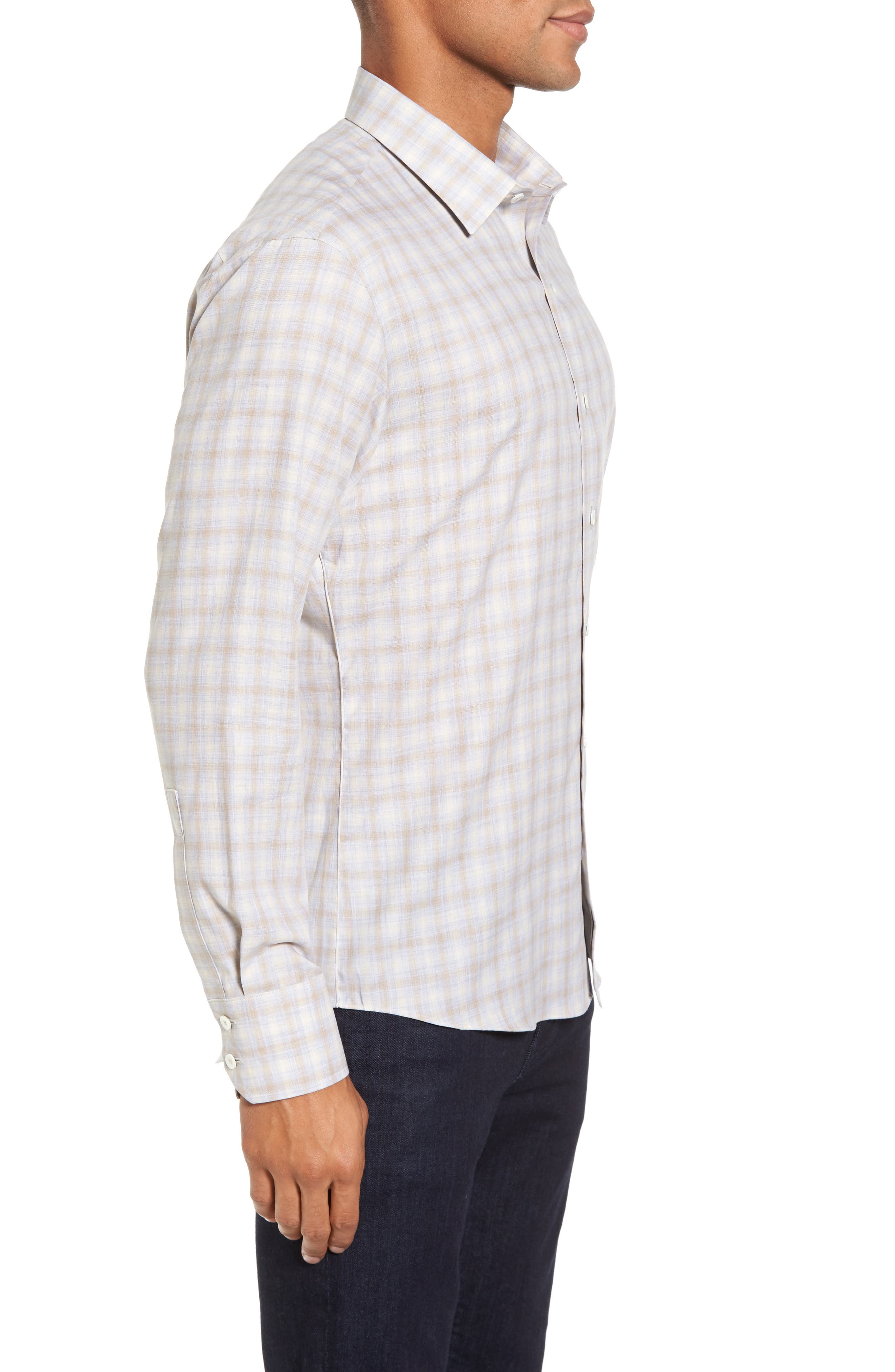 Lowles Slim Fit Plaid Sport Shirt,                             Alternate thumbnail 3, color,