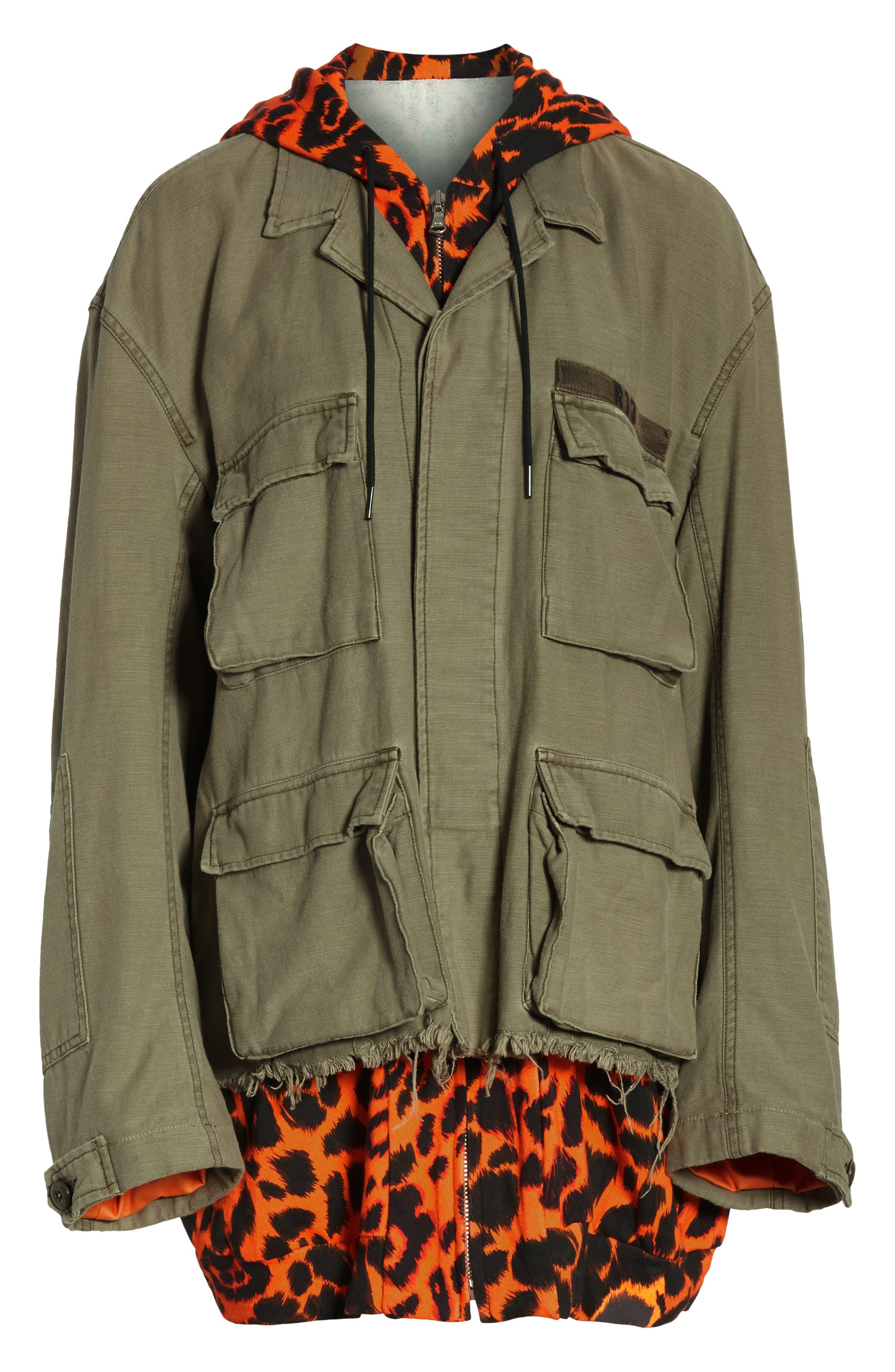 Abu Jacket with Long Leopard Print Hoodie,                             Alternate thumbnail 6, color,                             OLIVE/ ORANGE