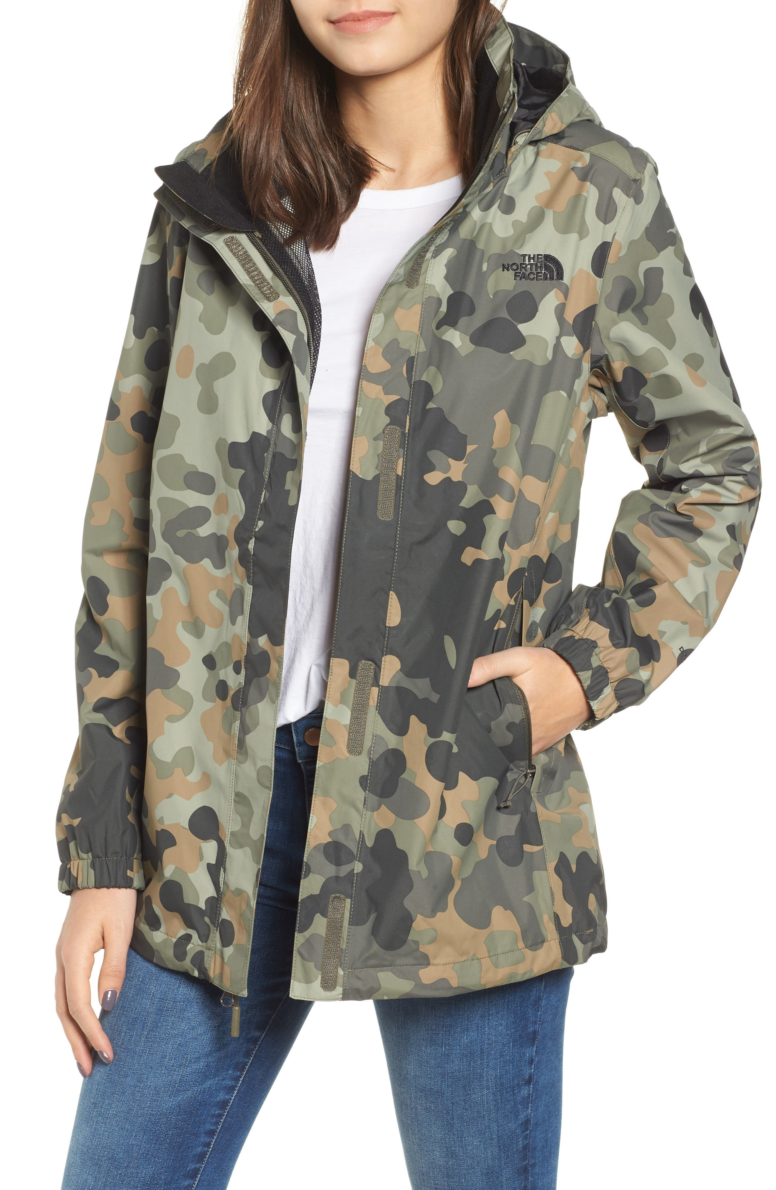 THE NORTH FACE Resolve Waterproof Parka, Main, color, NEW TAUPE GREEN MACROFLECK
