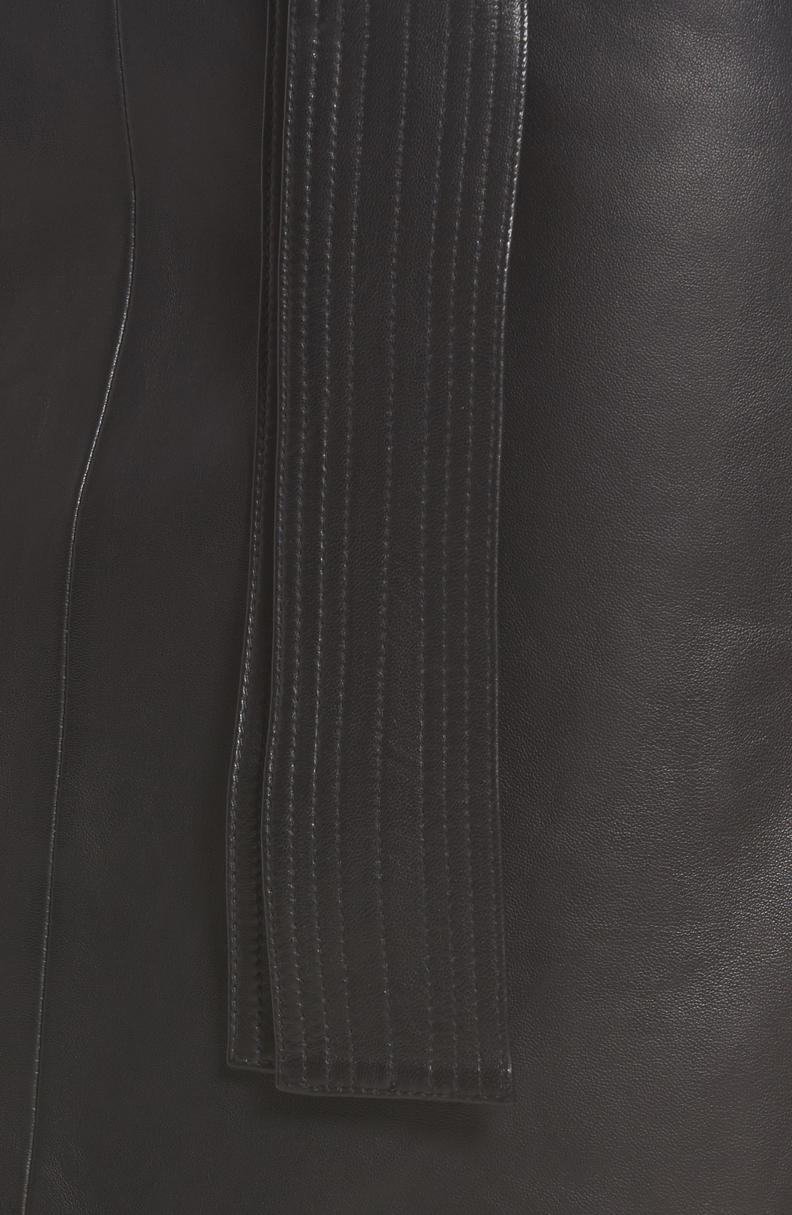 Belted Leather Skirt,                             Alternate thumbnail 5, color,                             001