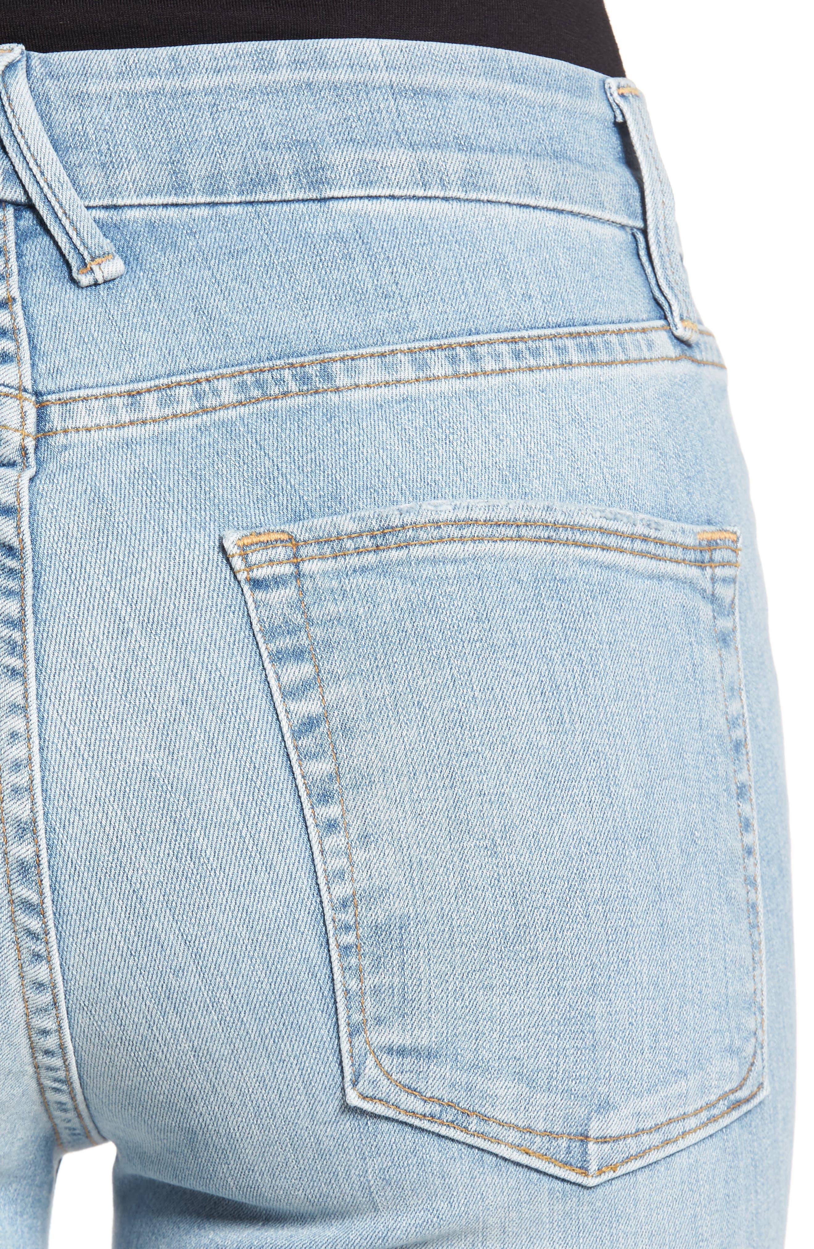 Crop Raw Edge Bootcut Jeans,                             Alternate thumbnail 4, color,                             402