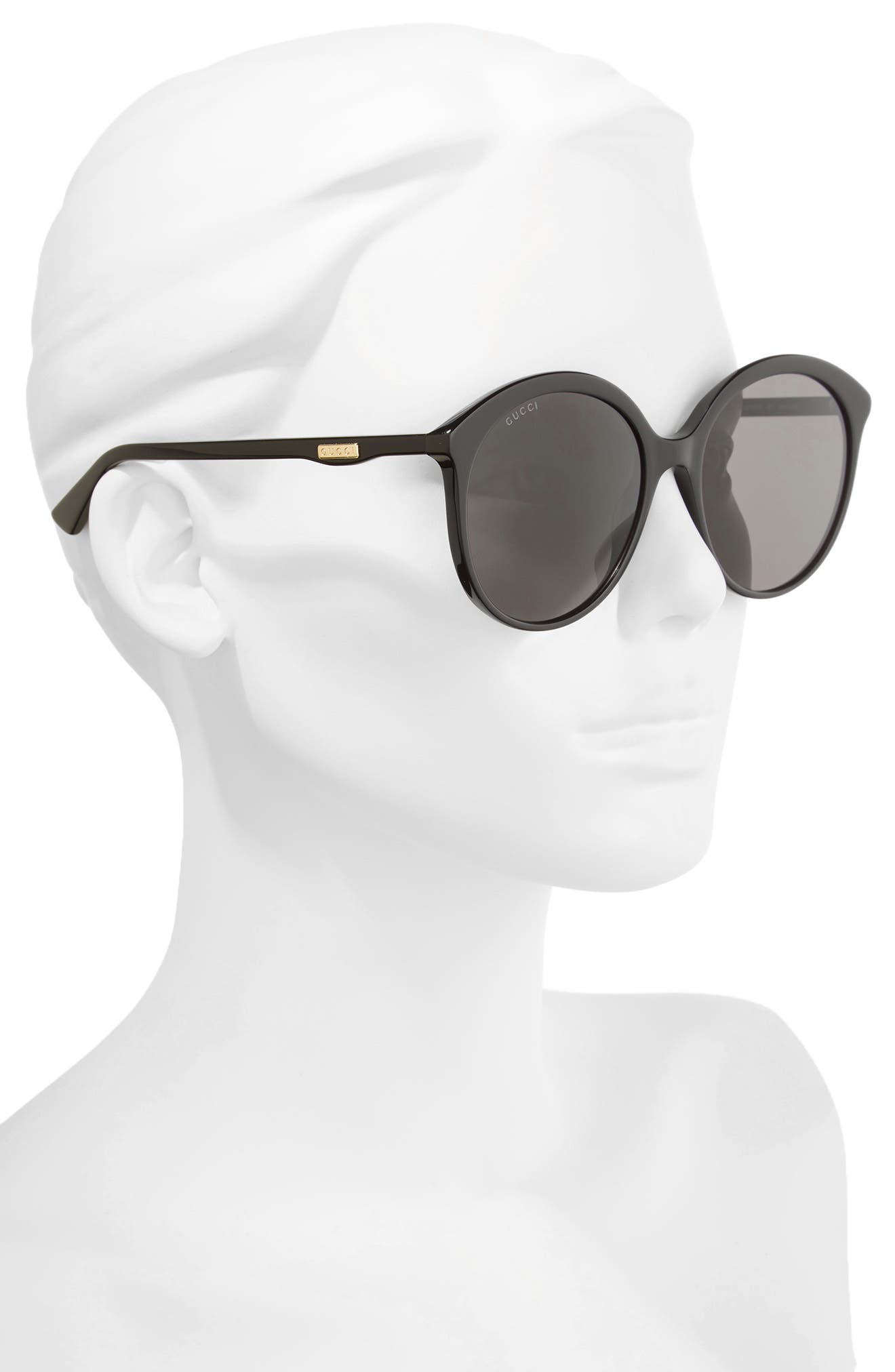 59mm Round Sunglasses,                             Alternate thumbnail 2, color,                             BLACK