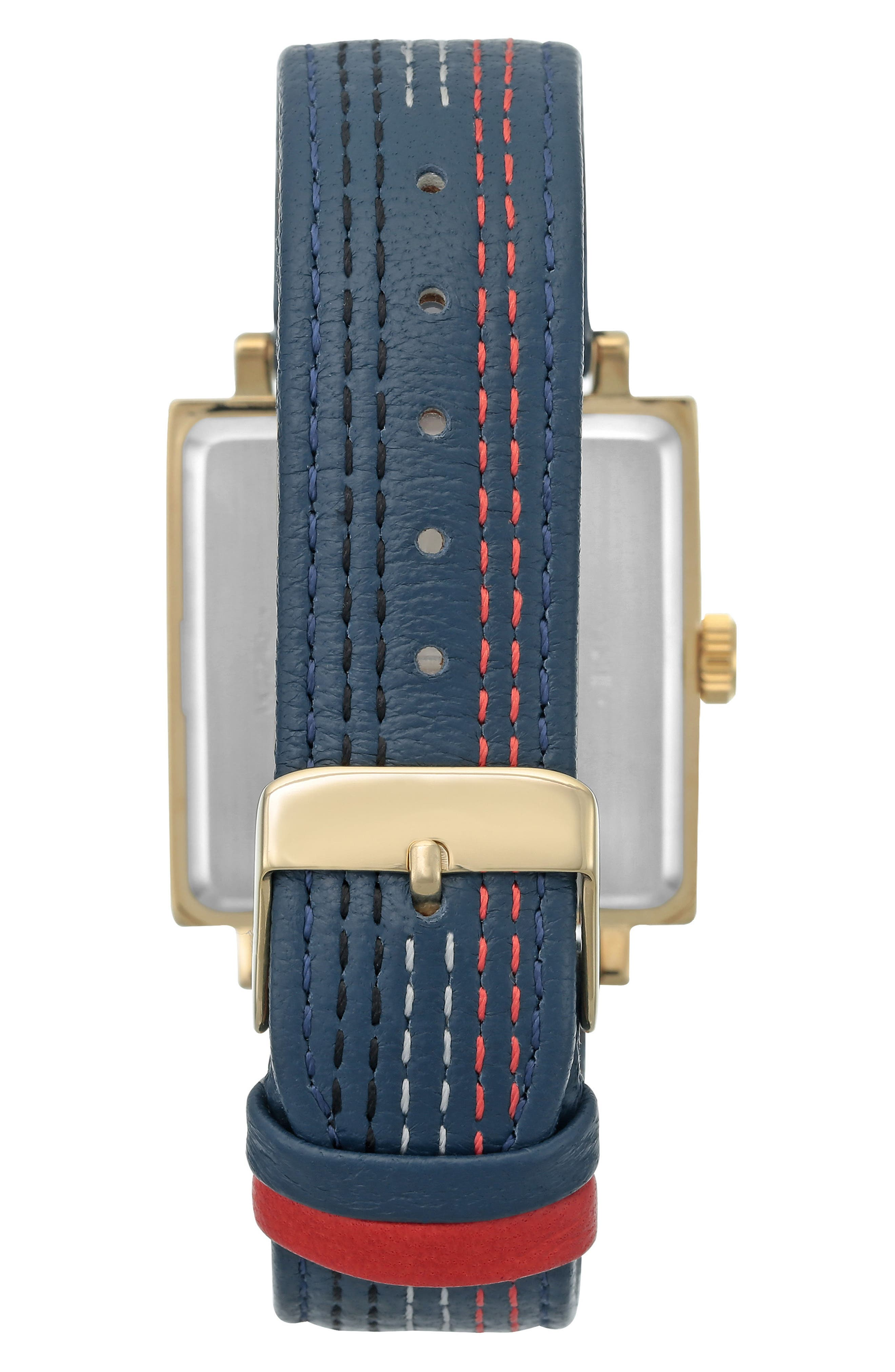 Square Leather Strap Watch, 42mm x 34mm,                             Alternate thumbnail 5, color,