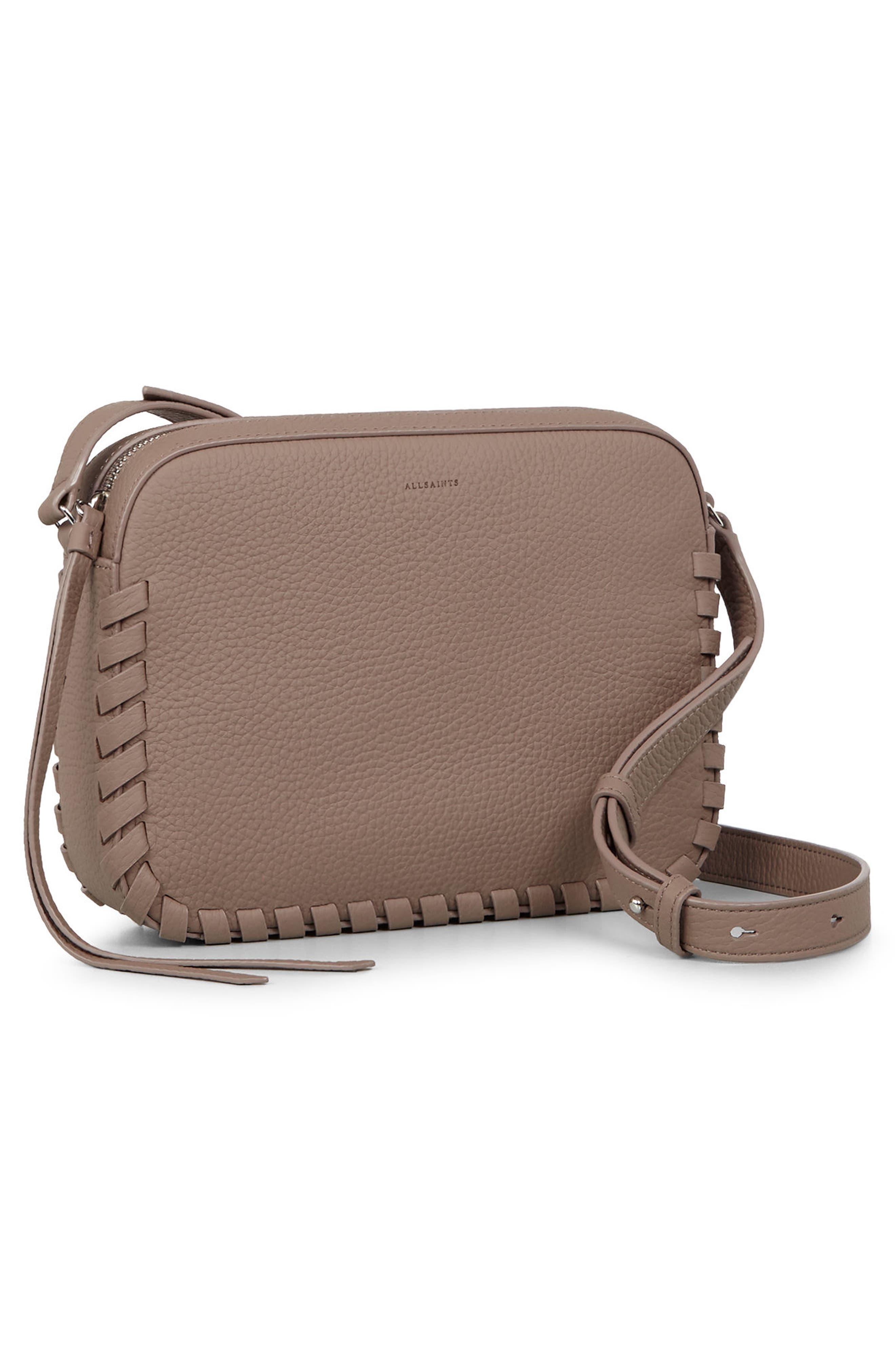 Kepi Mini Leather Crossbody Bag,                             Alternate thumbnail 8, color,                             ALMOND BROWN