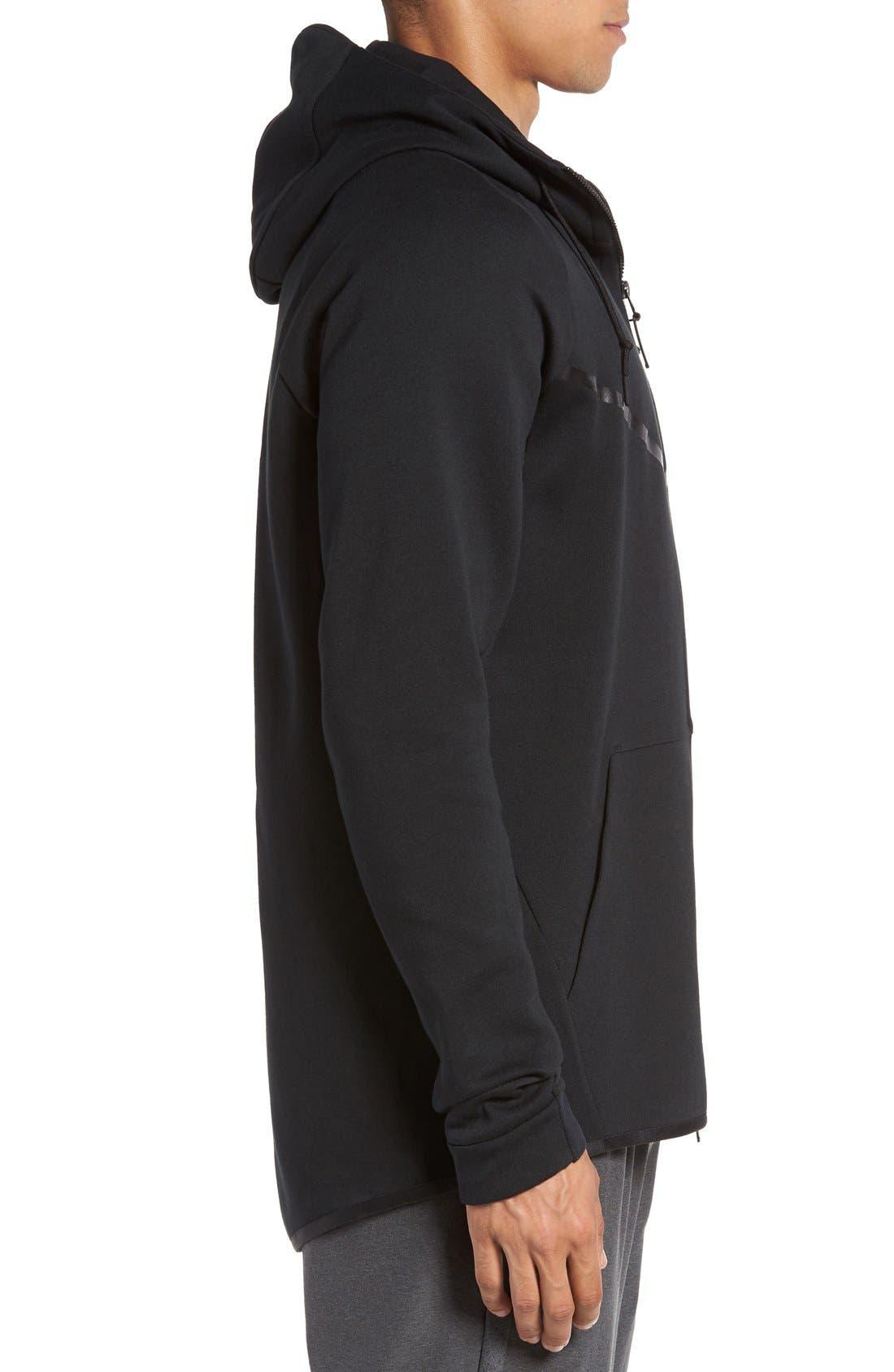 'Windrunner' Tech Fleece Hoodie,                             Alternate thumbnail 4, color,                             BLACK/ BLACK