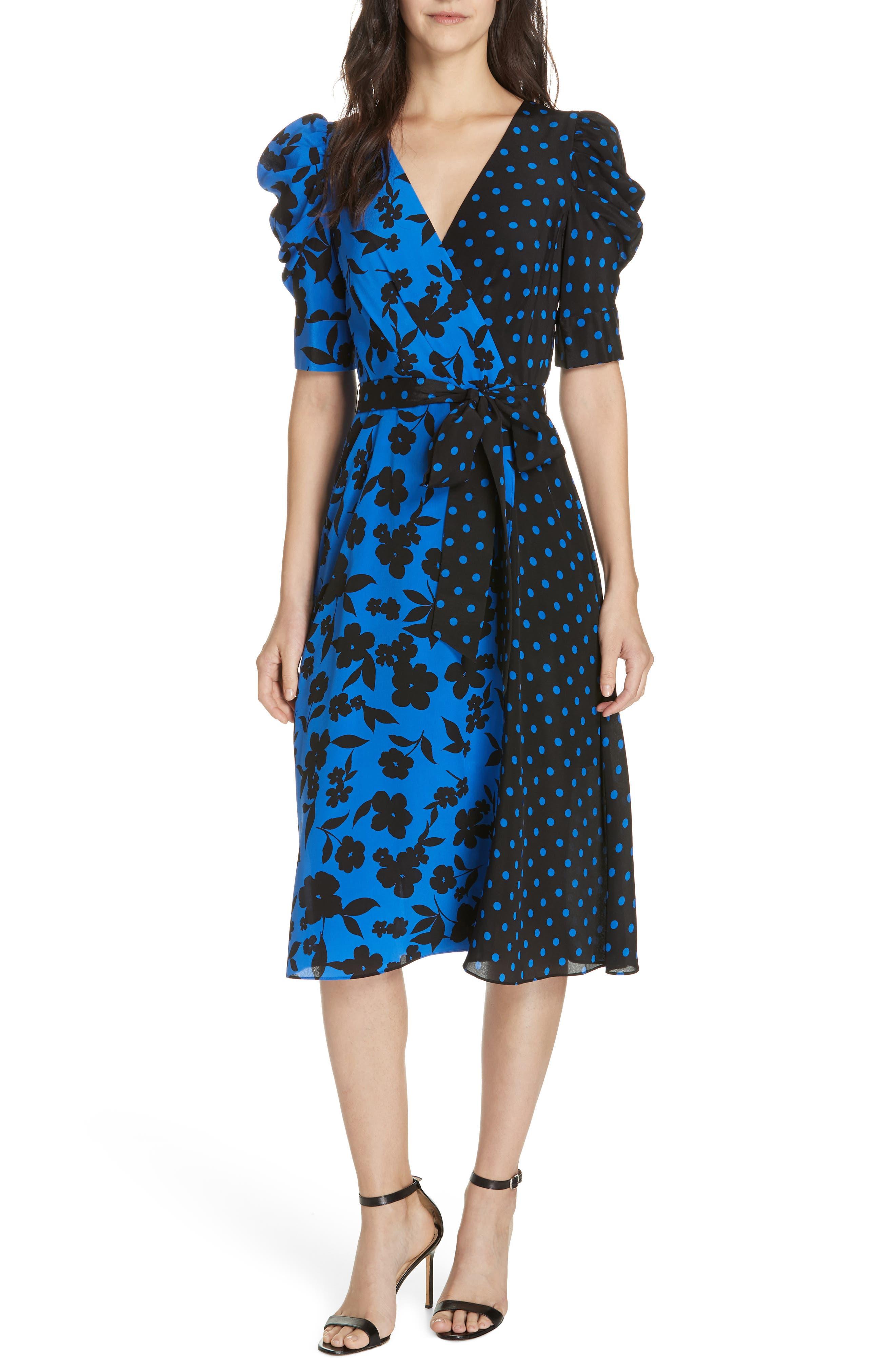 Alice + Olivia Siona Puff Sleeve Silk Midi Dress