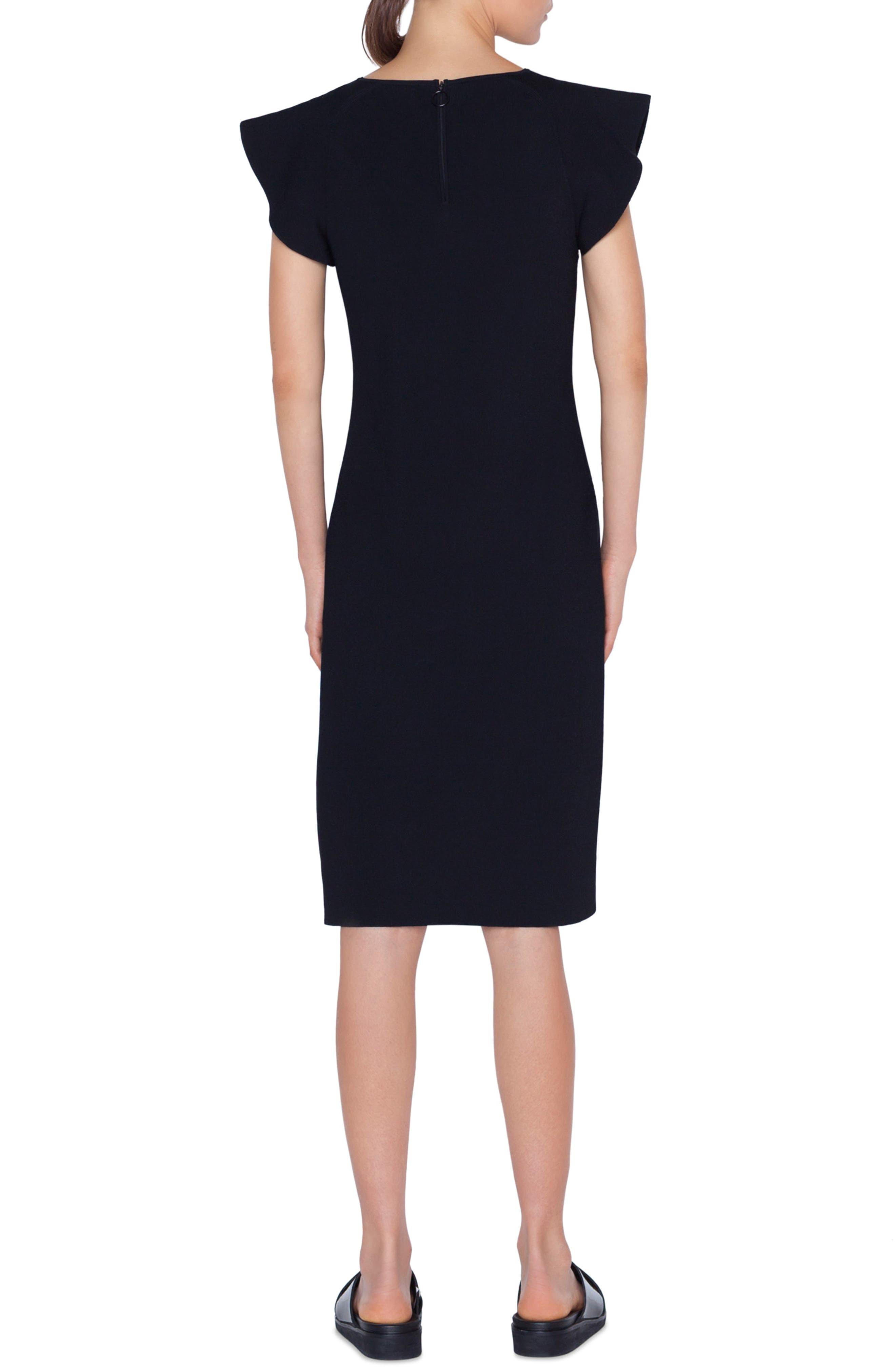 Wave Shoulder Knit Dress,                             Alternate thumbnail 2, color,                             NERO
