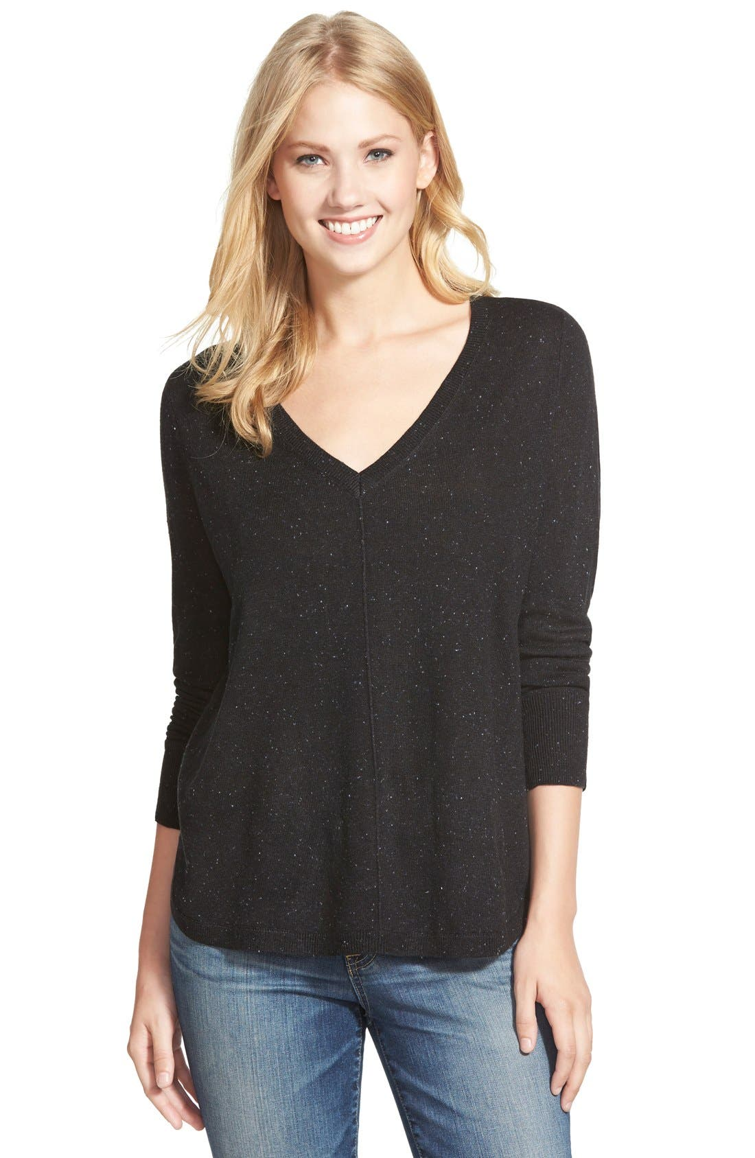 High-Low V-neck Sweater,                             Main thumbnail 1, color,                             001