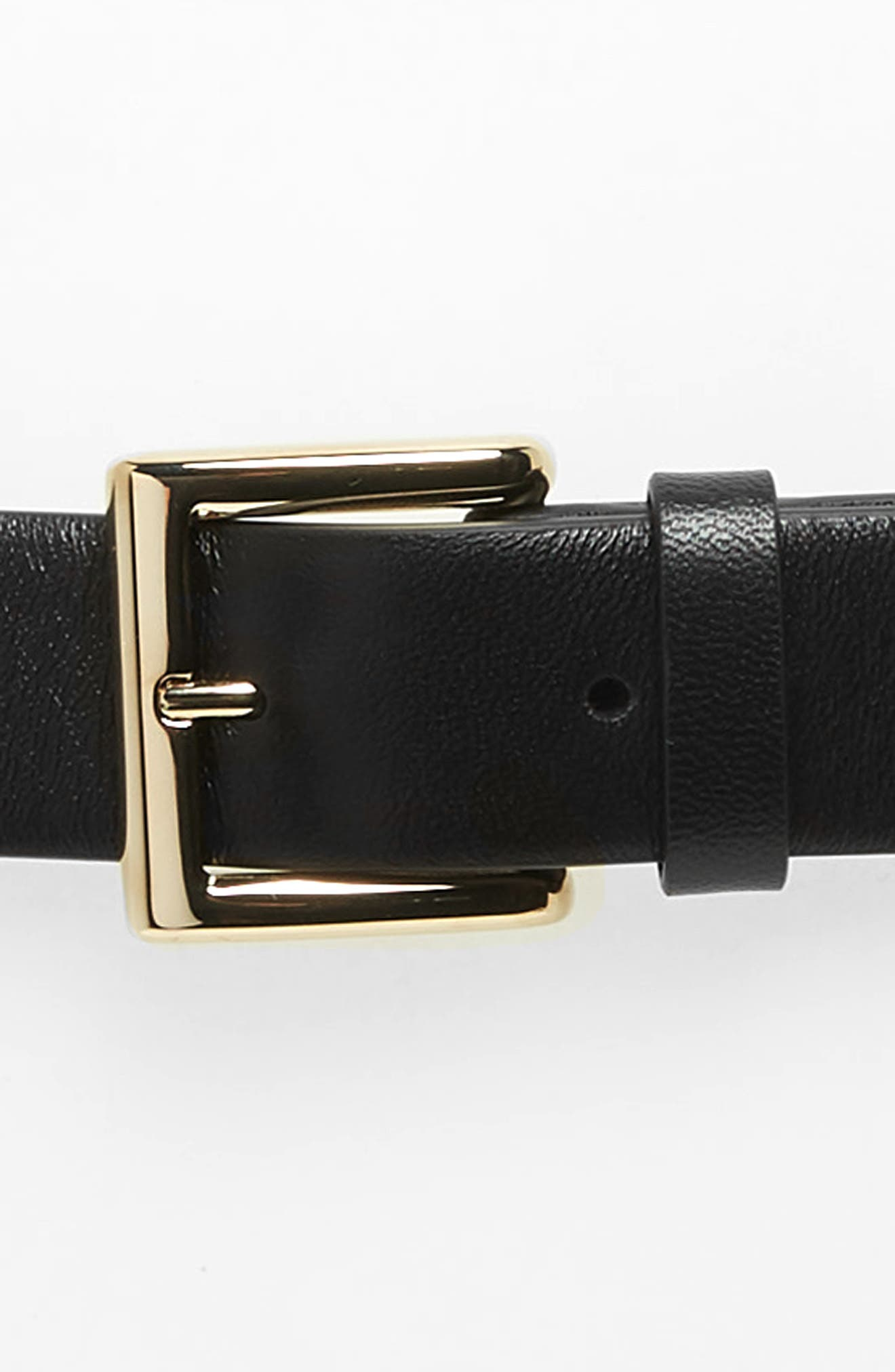 VALENTINO GARAVANI,                             Rockstud Leather Belt,                             Alternate thumbnail 3, color,                             001