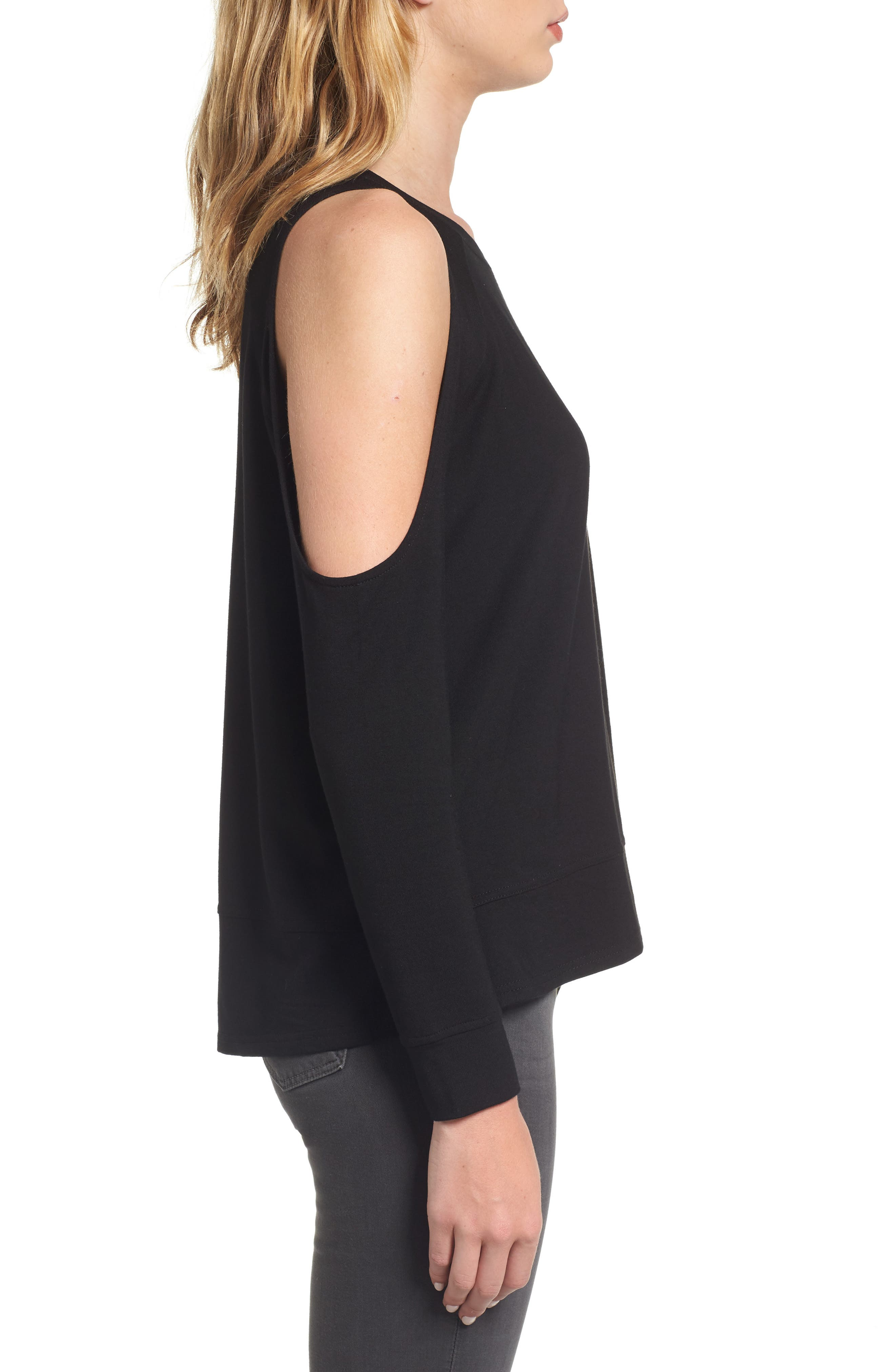 Mariam Cold Shoulder Tee,                             Alternate thumbnail 3, color,                             001