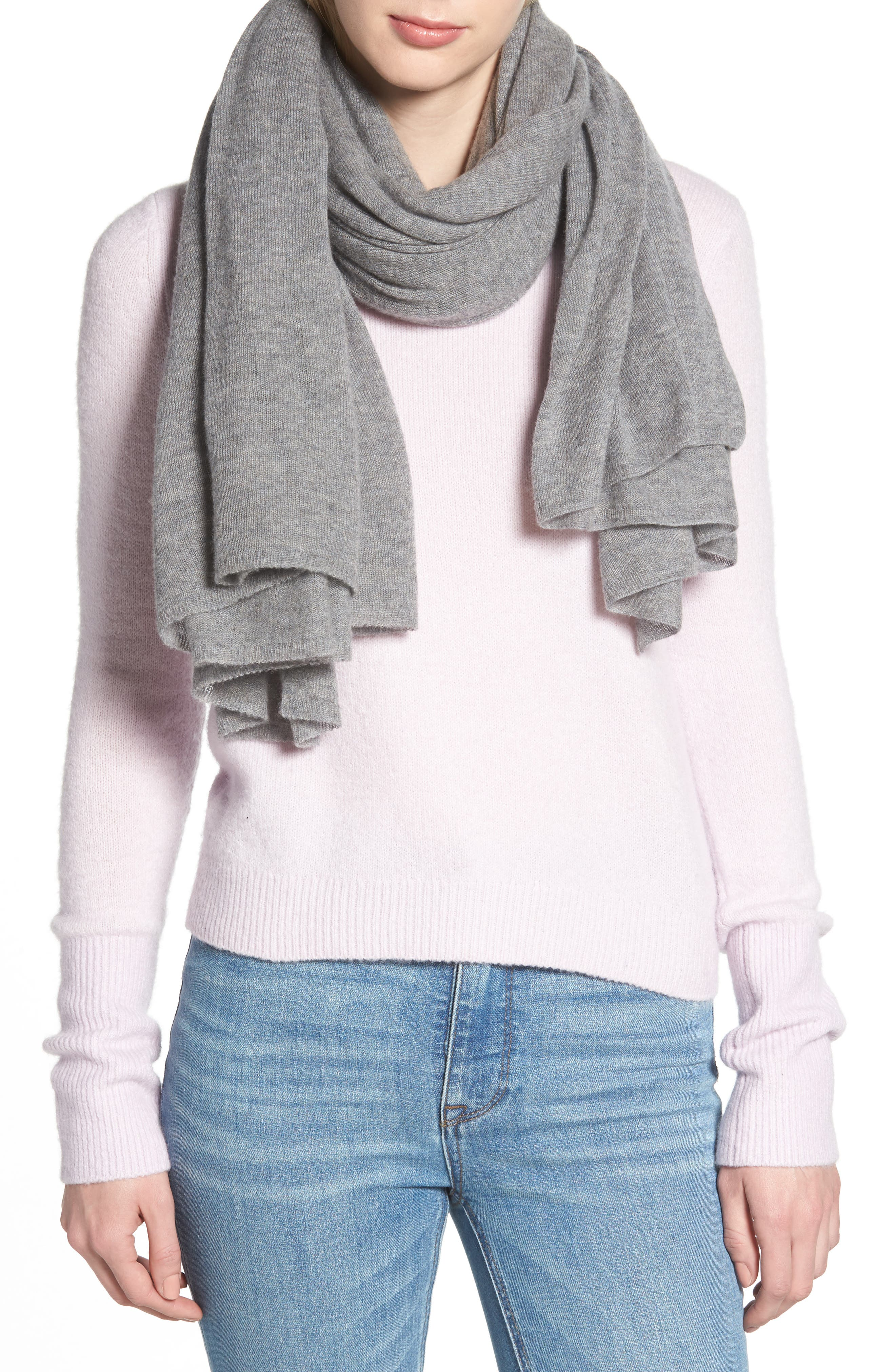 HALOGEN<SUP>®</SUP> Lightweight Cashmere Scarf, Main, color, GREY MEDIUM HEATHER