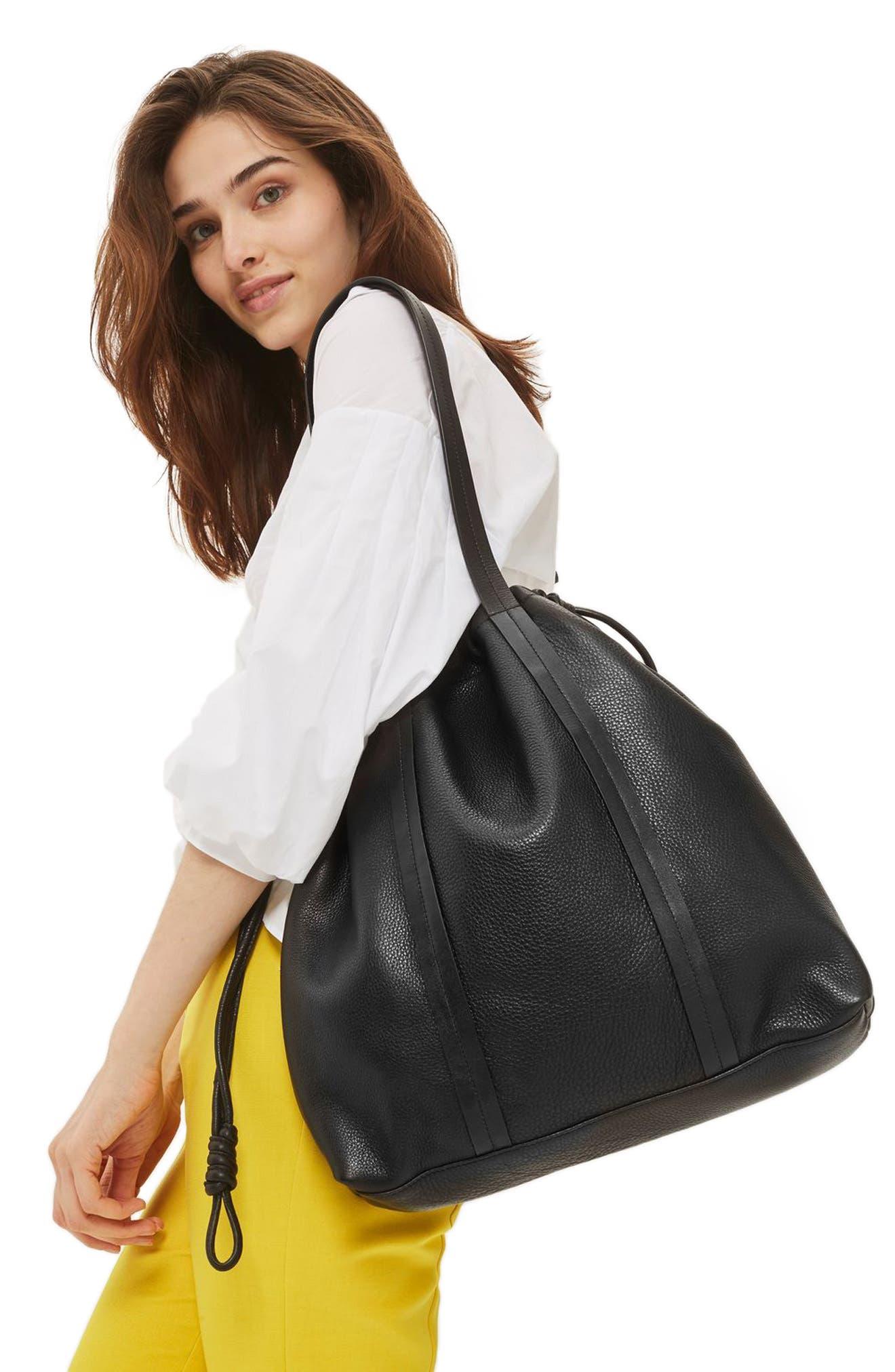 Premium Leather Drawstring Shoulder Bag,                             Alternate thumbnail 2, color,                             001