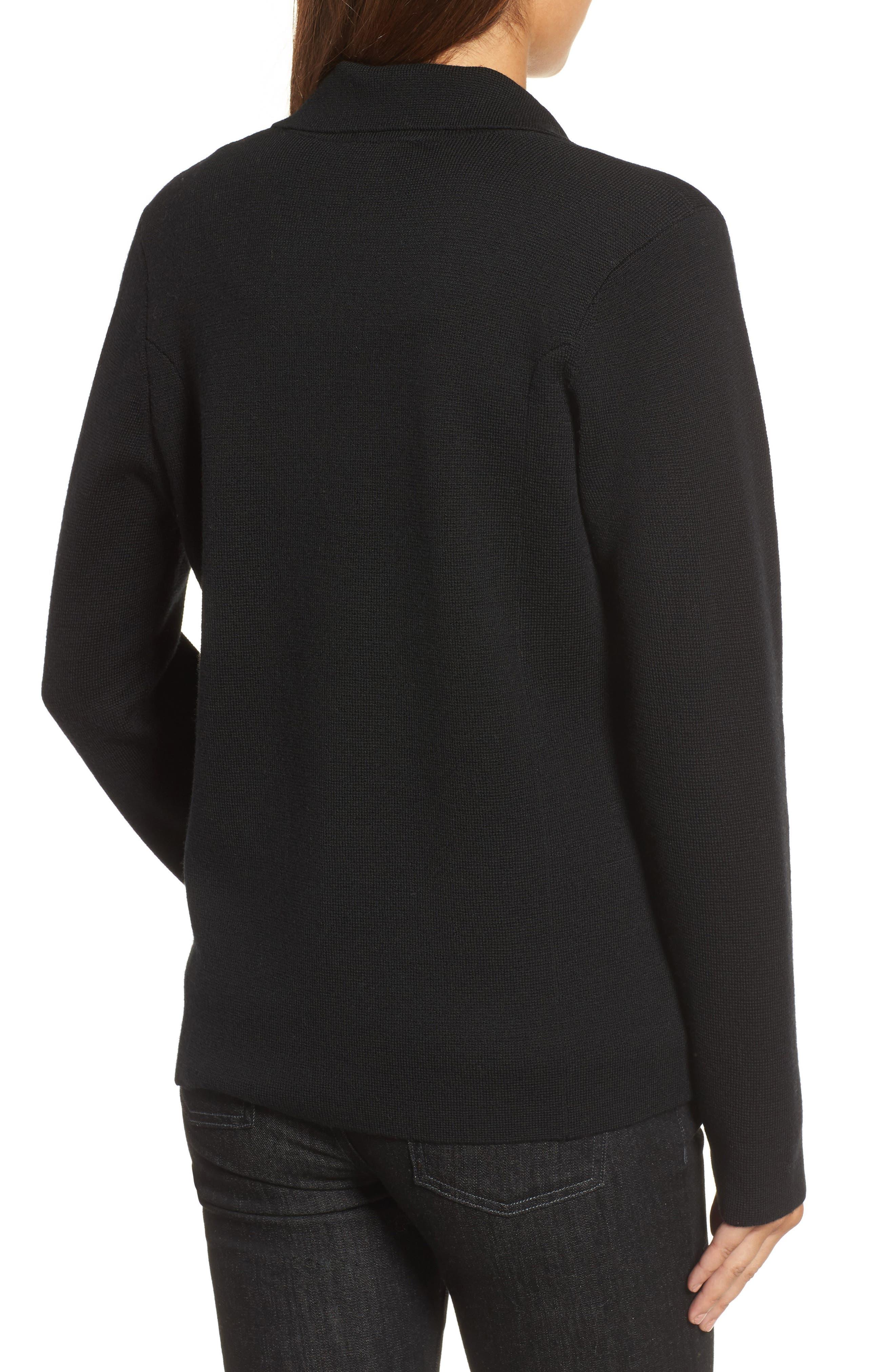 Merino Wool Knit Blazer,                             Alternate thumbnail 2, color,                             001